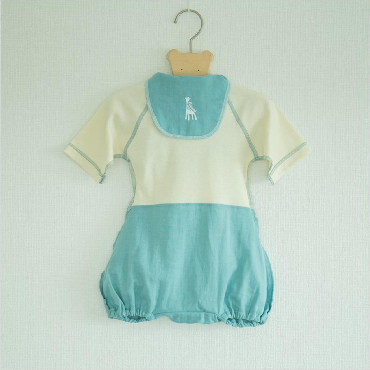 出産祝い ギフトに! 可愛くて着替えやすいラクラクふわふわバルーンオール/汗取りパッドのセット(日本製)