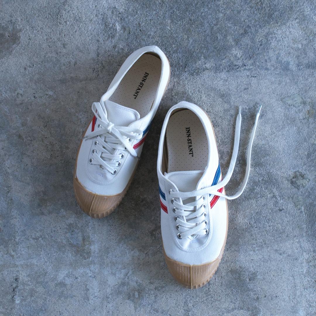 INN-STANT インスタント canvas shoes neo  キャンバスシューズネオ・ホワイト&レッド-ブルー / ガムソール