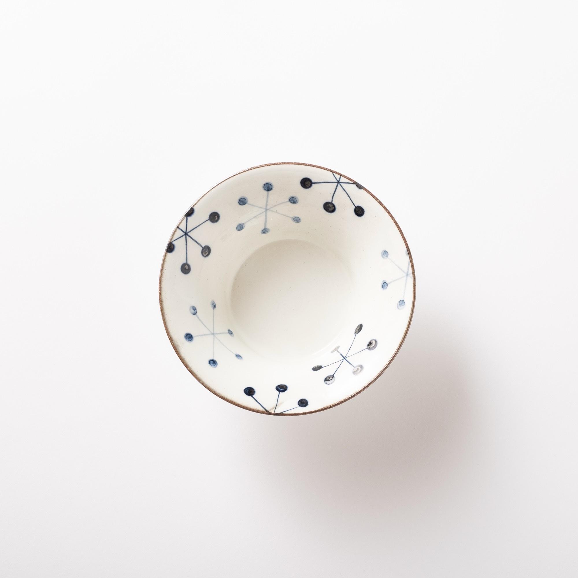 【瀬戸焼】サラダ皿「いんでぃご-ホワイト 六角花 反ボウル」