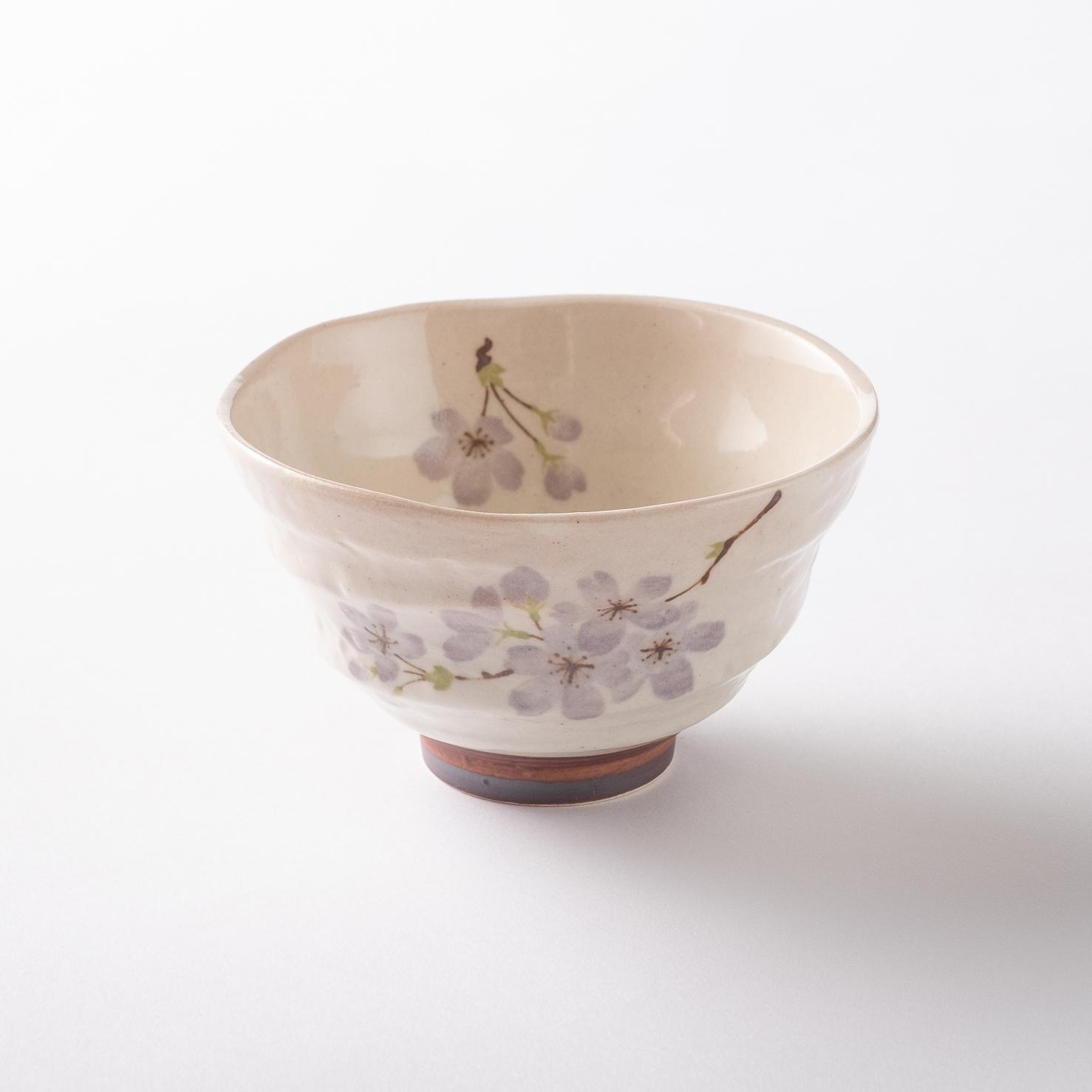 【美濃焼】軽量茶碗「軽い飯碗 京桜 紫」