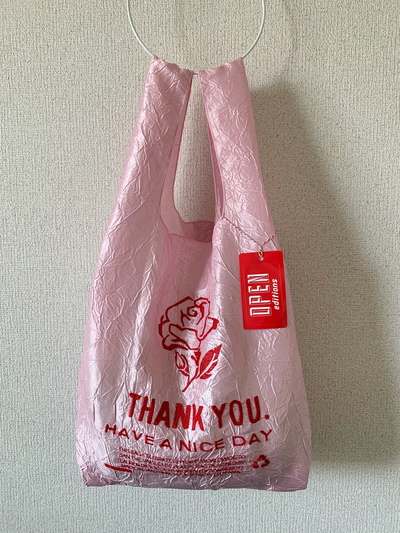 【OPEN EDITIONS / 送料無料】THANK YOU TOTE エコバッグ/ ROSE Pink