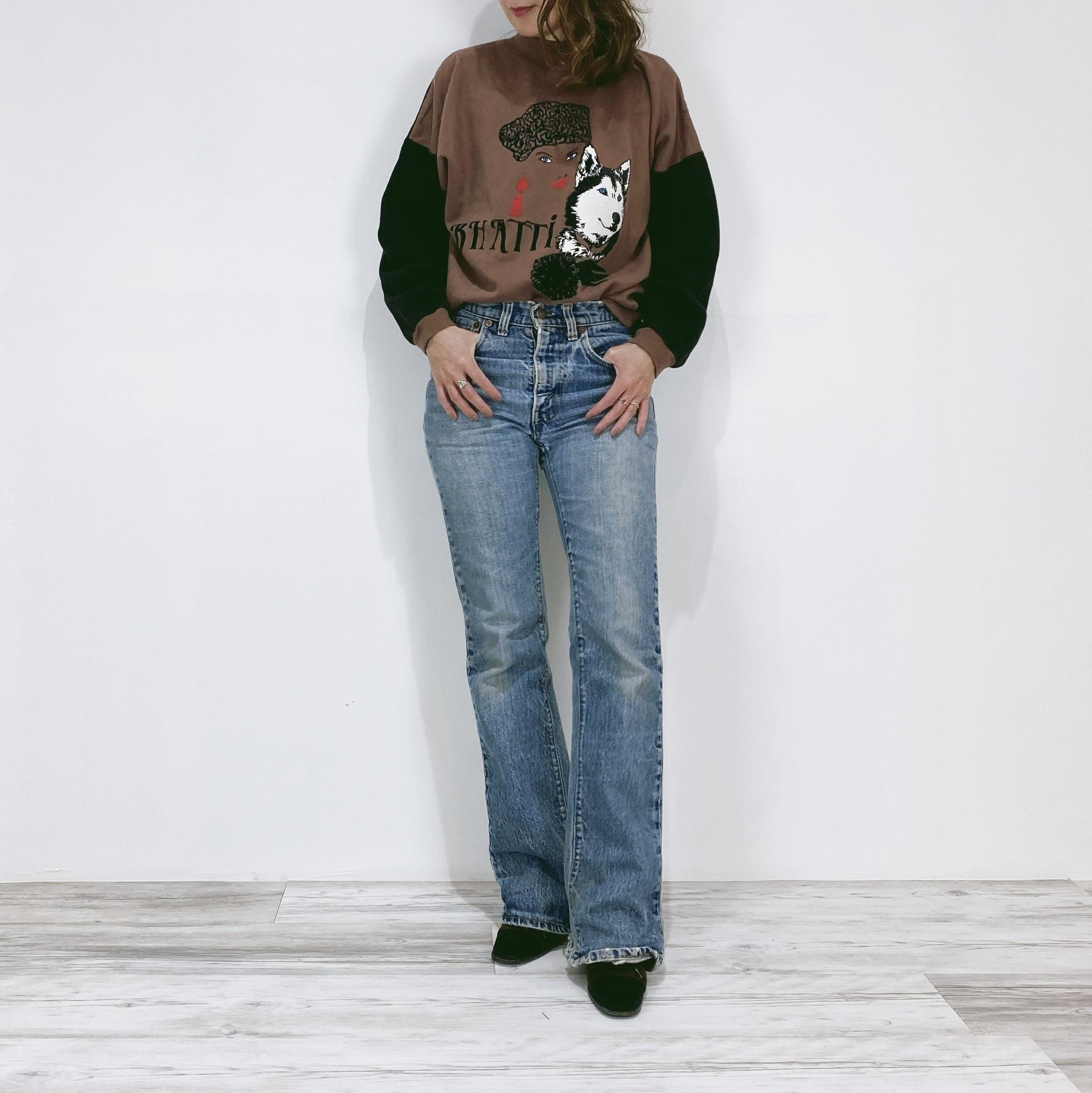 ◼︎80s vintage woman & dog sweatshirt from U.S.A.◼︎