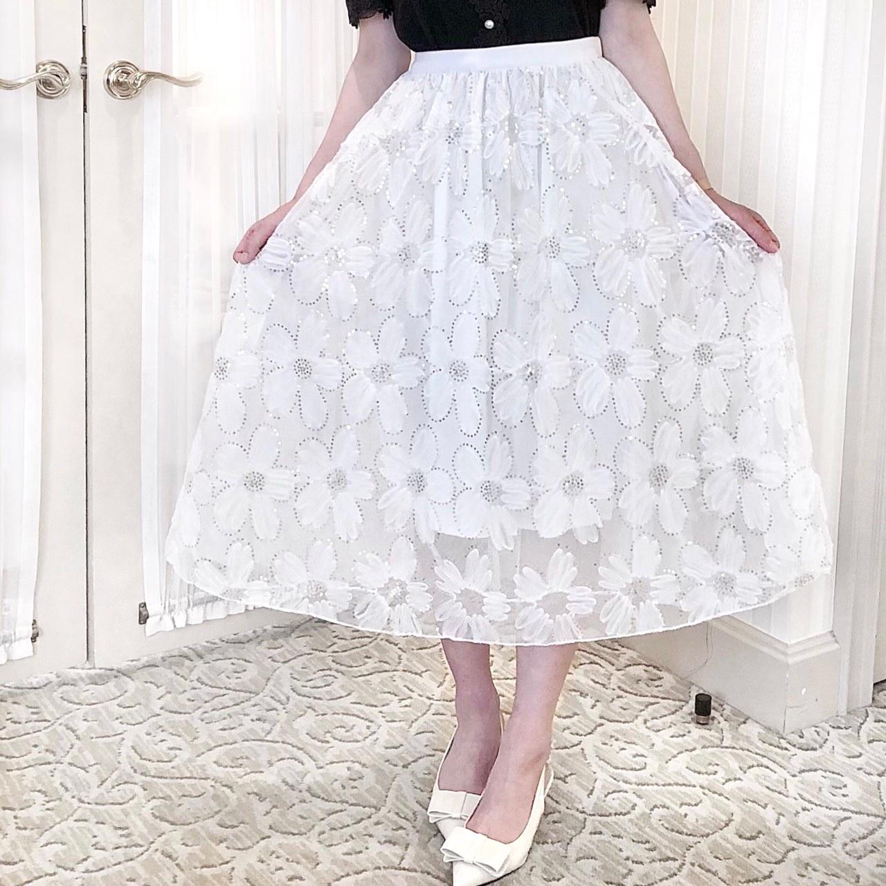 【Fluffy】エンボスフラワースカート