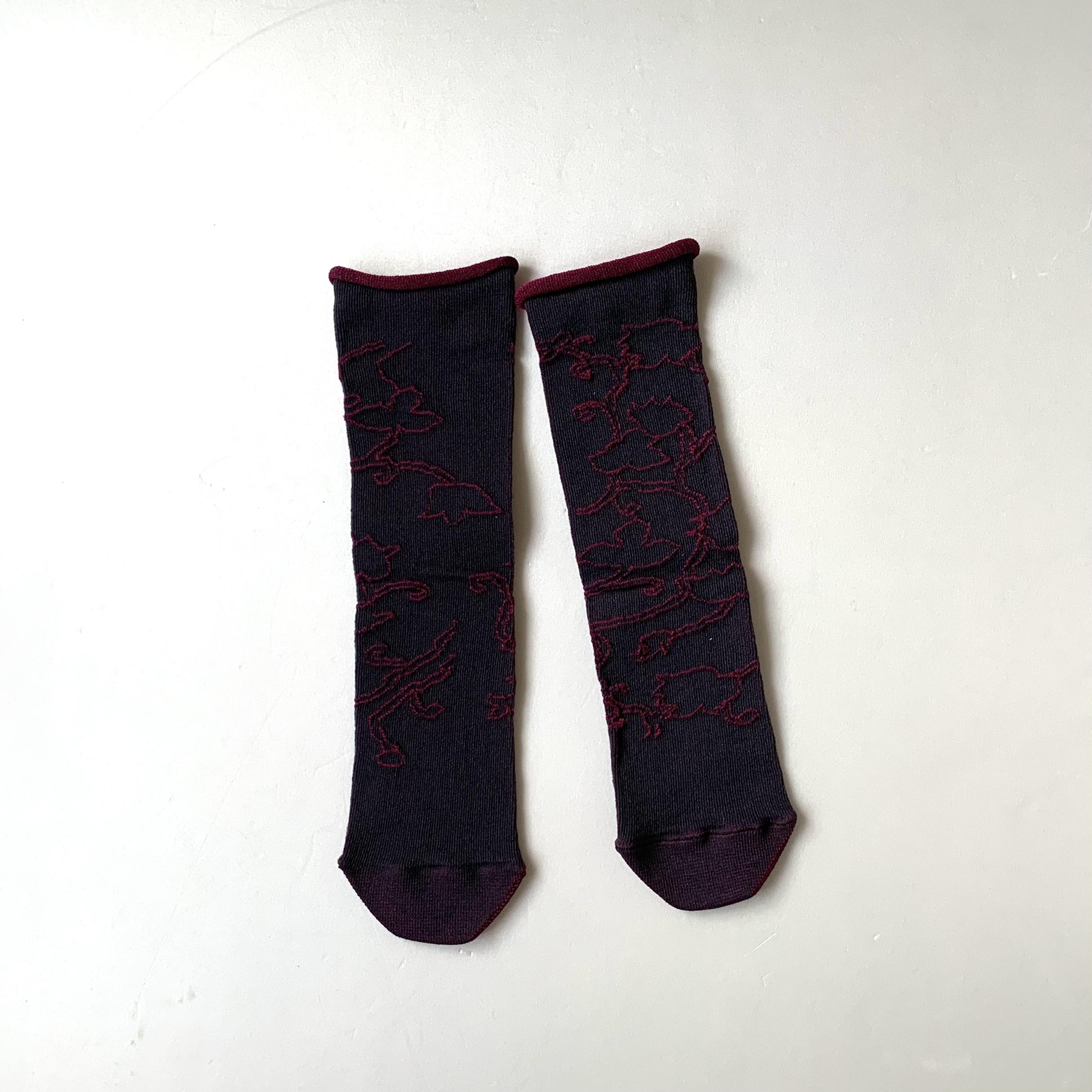 かかとのない靴下 【つつした x pink india】| wine red |