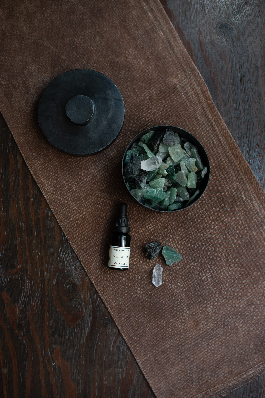 MAD et LEN FLAT POT POURRI  GREEN MEDIUM (emerald brut、green aventurine)  ポプリ /  グリーン フラット  ミディアムサイズ