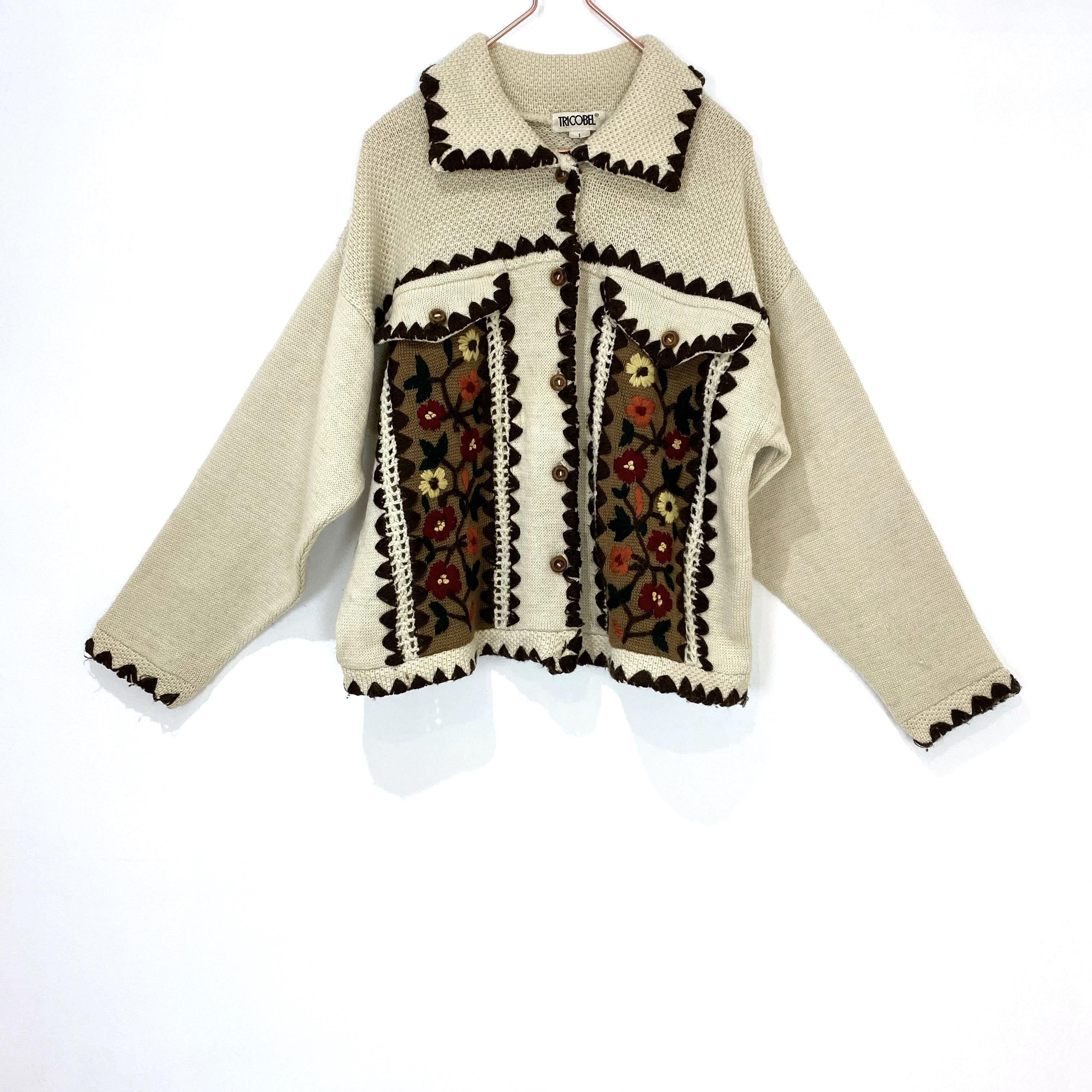 ◼︎80s vintage hand embroidery knit cardigan from France◼︎