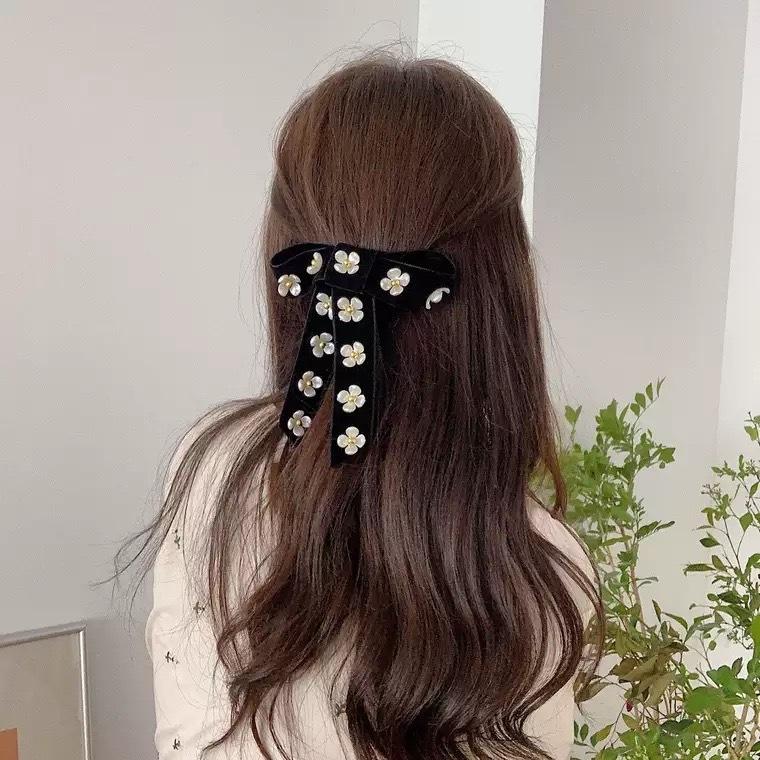 flower ribbon hair clip