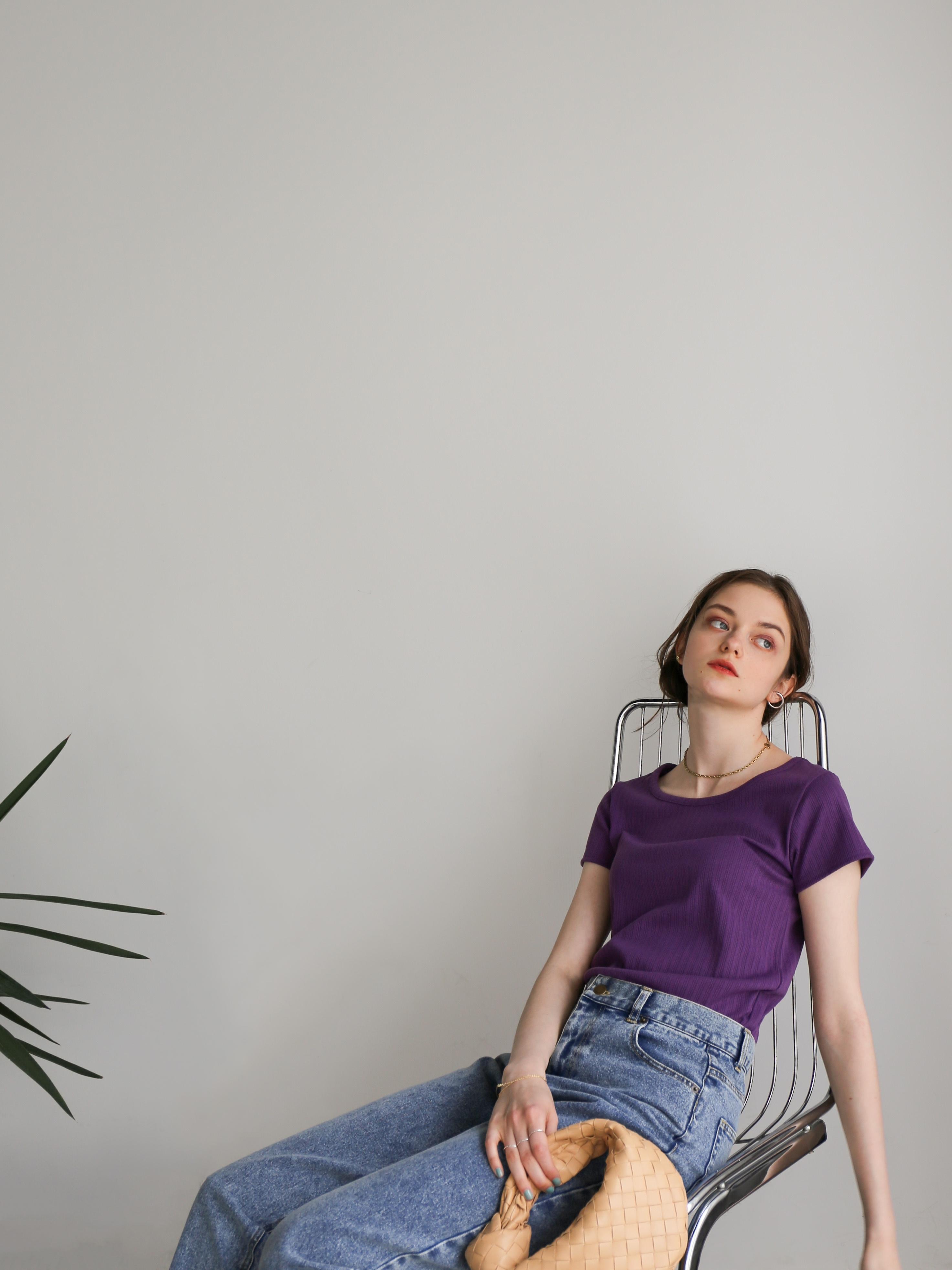 compact rib tee(purple)