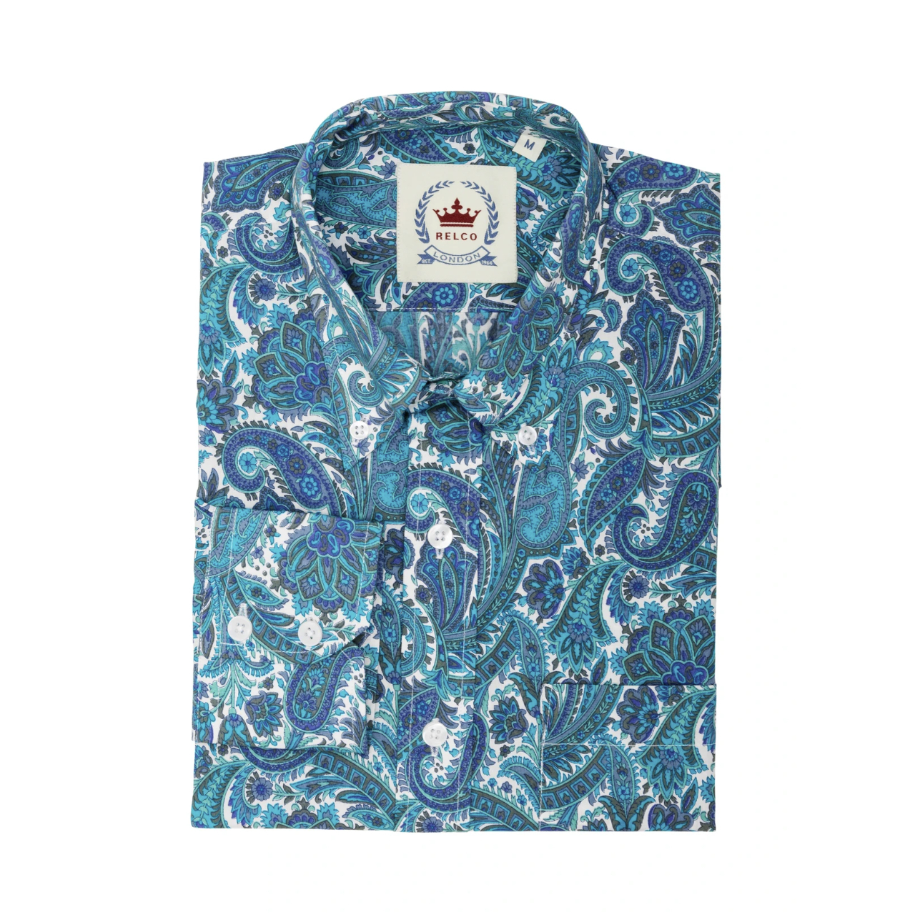 Relco London | Button Down Paisley Shirt - Turquoise
