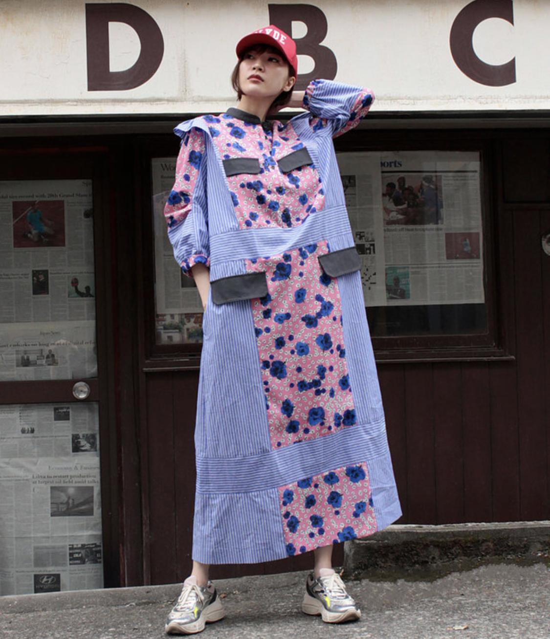 FLUMOR  Imported flower print Stripe switching dress