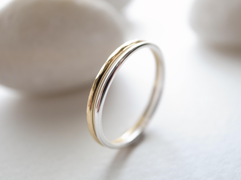【set ring】K18YG/tsuchime & silver950/plain