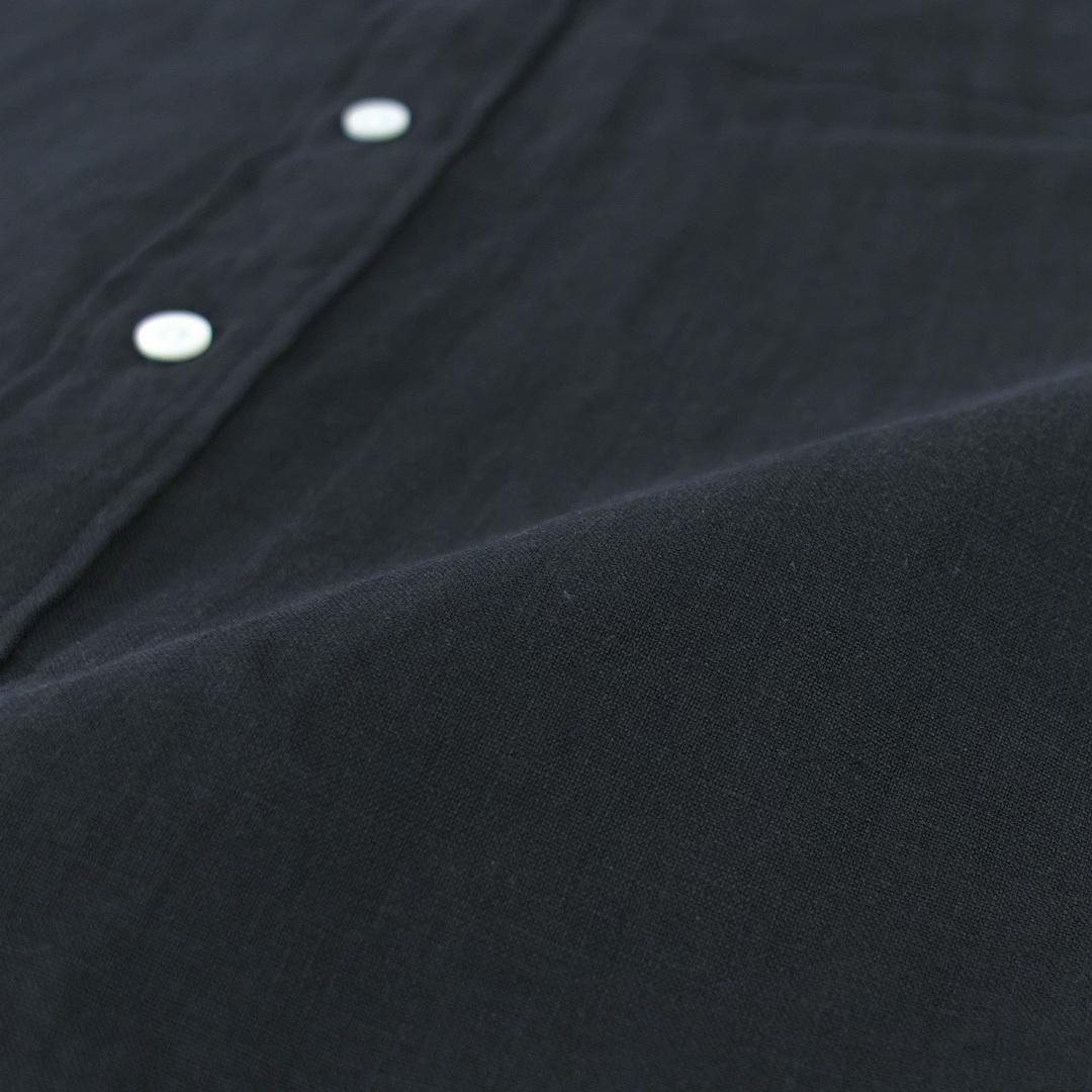 Manual Alphabet マニュアルアルファベット リネンバンドカラーシャツ linen band collar shirt・ブラック