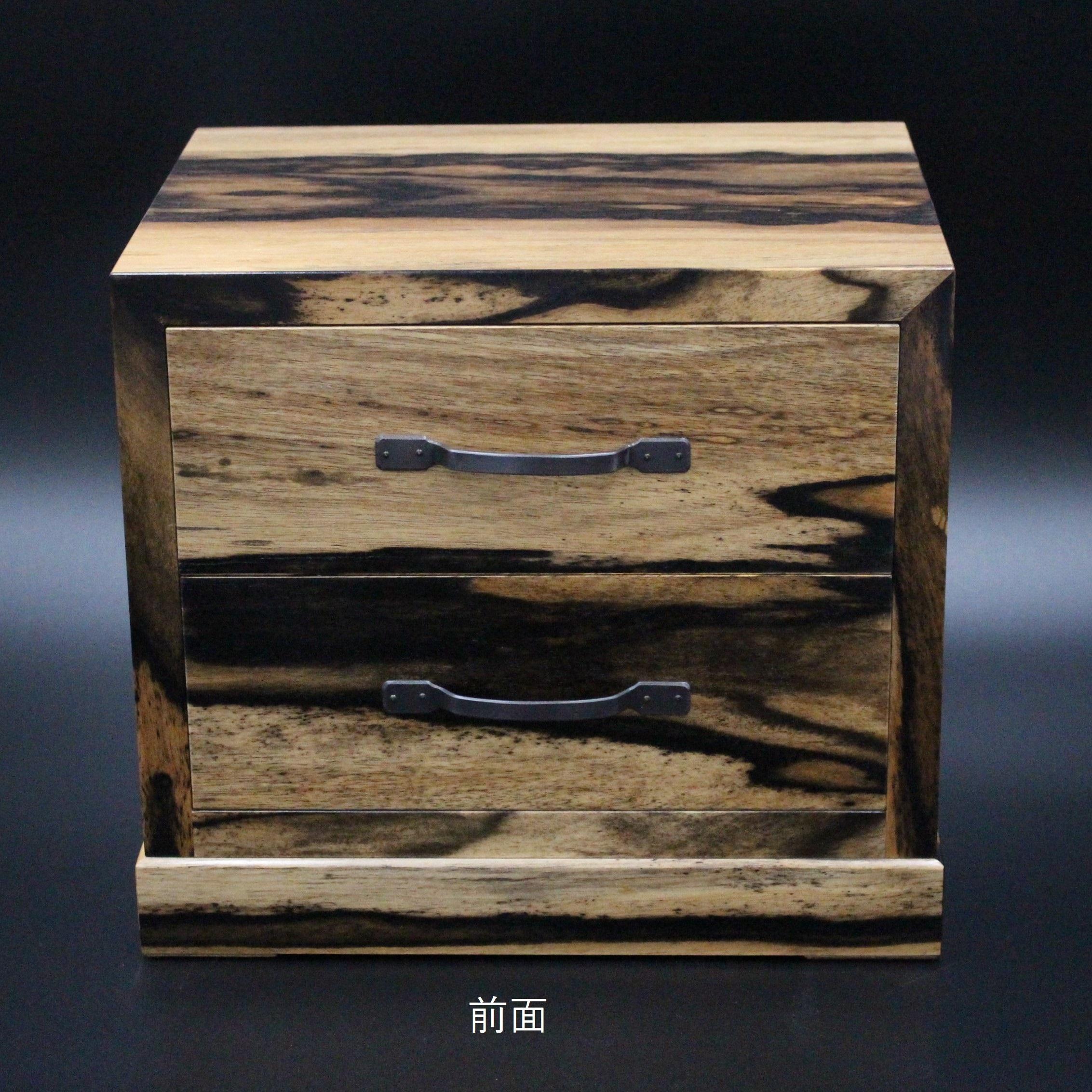 彫金工芸菊広 黒柿小物入れ(2段)