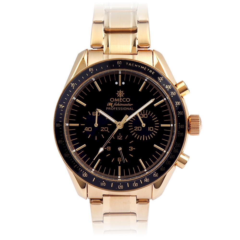 OMECO オメコ 潮FUKIMASTER【ゴールド】シオフキマスター クロノグラフ メンズ 腕時計 日本製 ムーブメント 金時計
