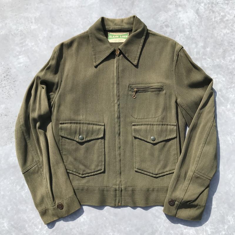 50's 60's MAIN LINE サージワークジャケット カーキ CALVERT社 TOLON アクションプリーツ S~M位 希少 ヴィンテージ