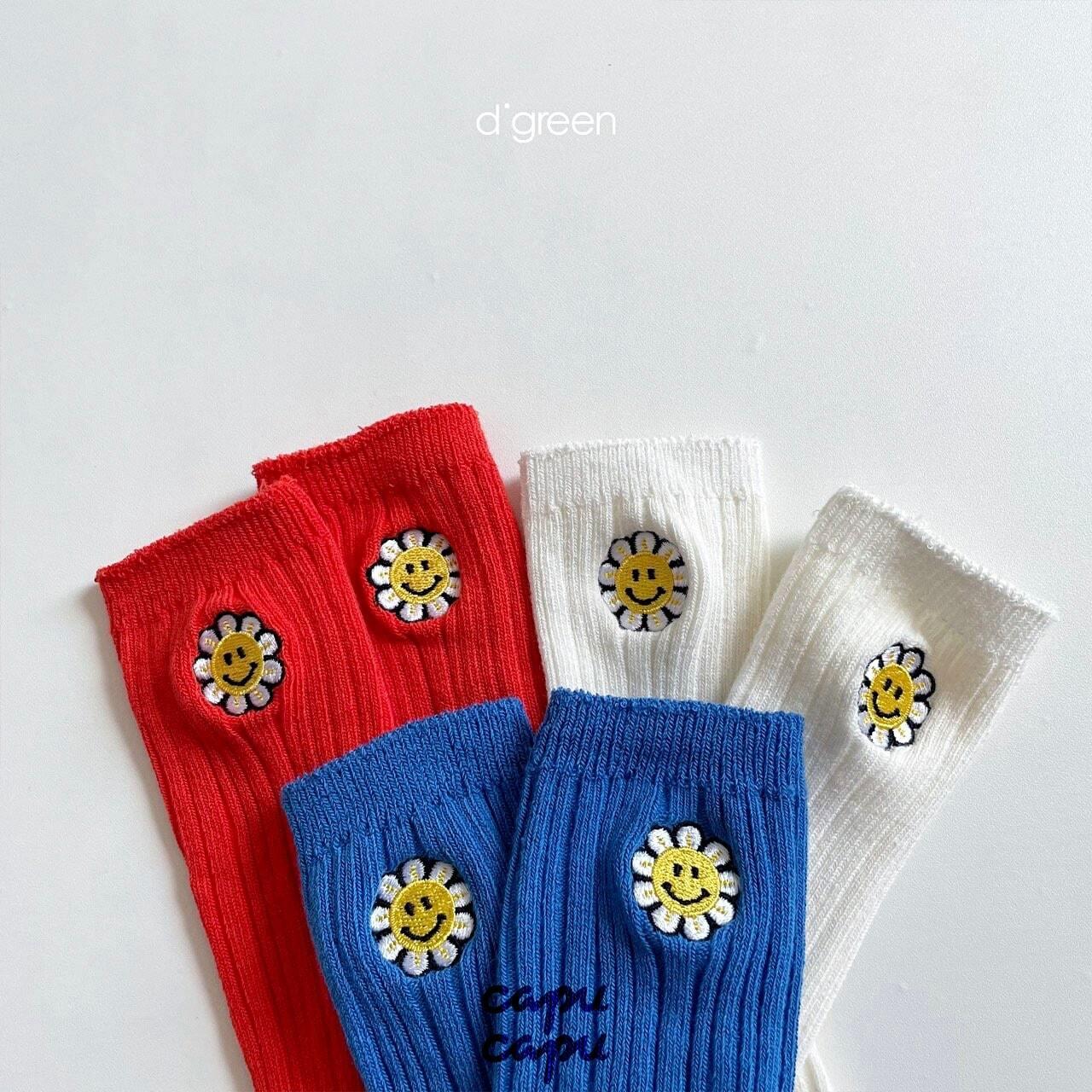 «予約»«3足セット» smile flower socks 3set スマイルフラワー刺繍 ソックス 靴下