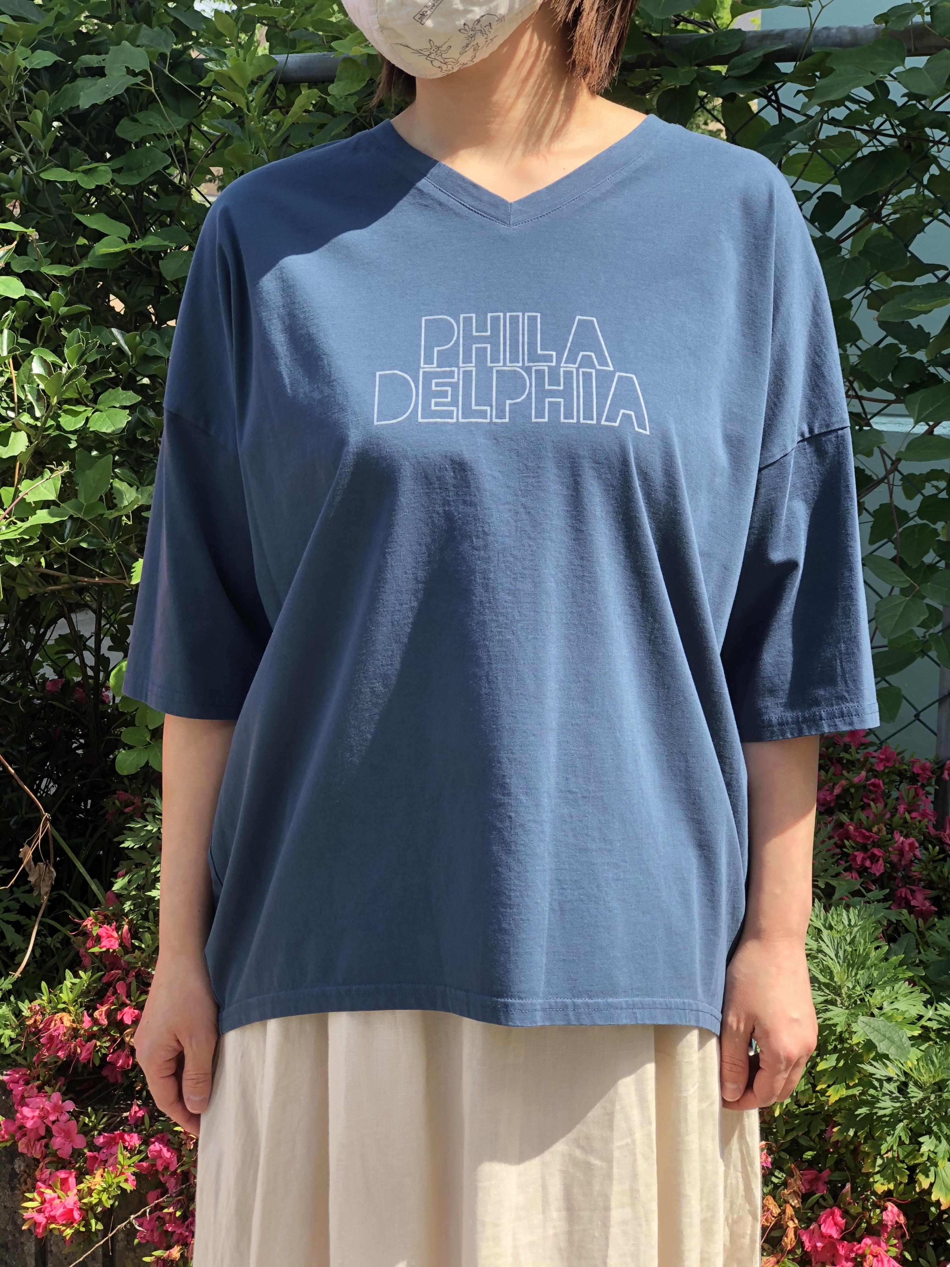 PASSIONE/126465/VネックTシャツ(ブルーネイビー)