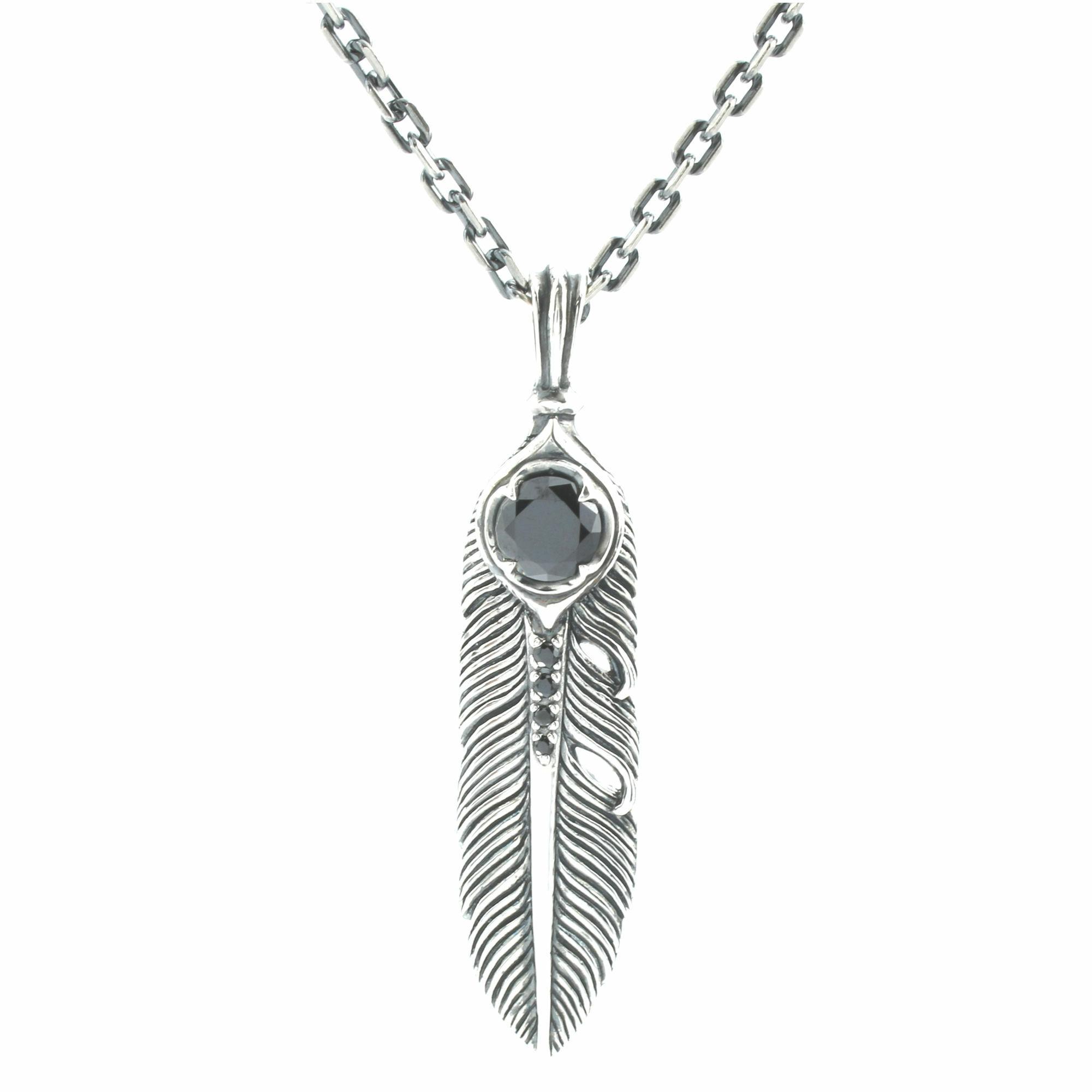 イカロスフェザーペンダント(スモール:ブラック) ACP0292 Icarus Feather Pendant (Small: Black)