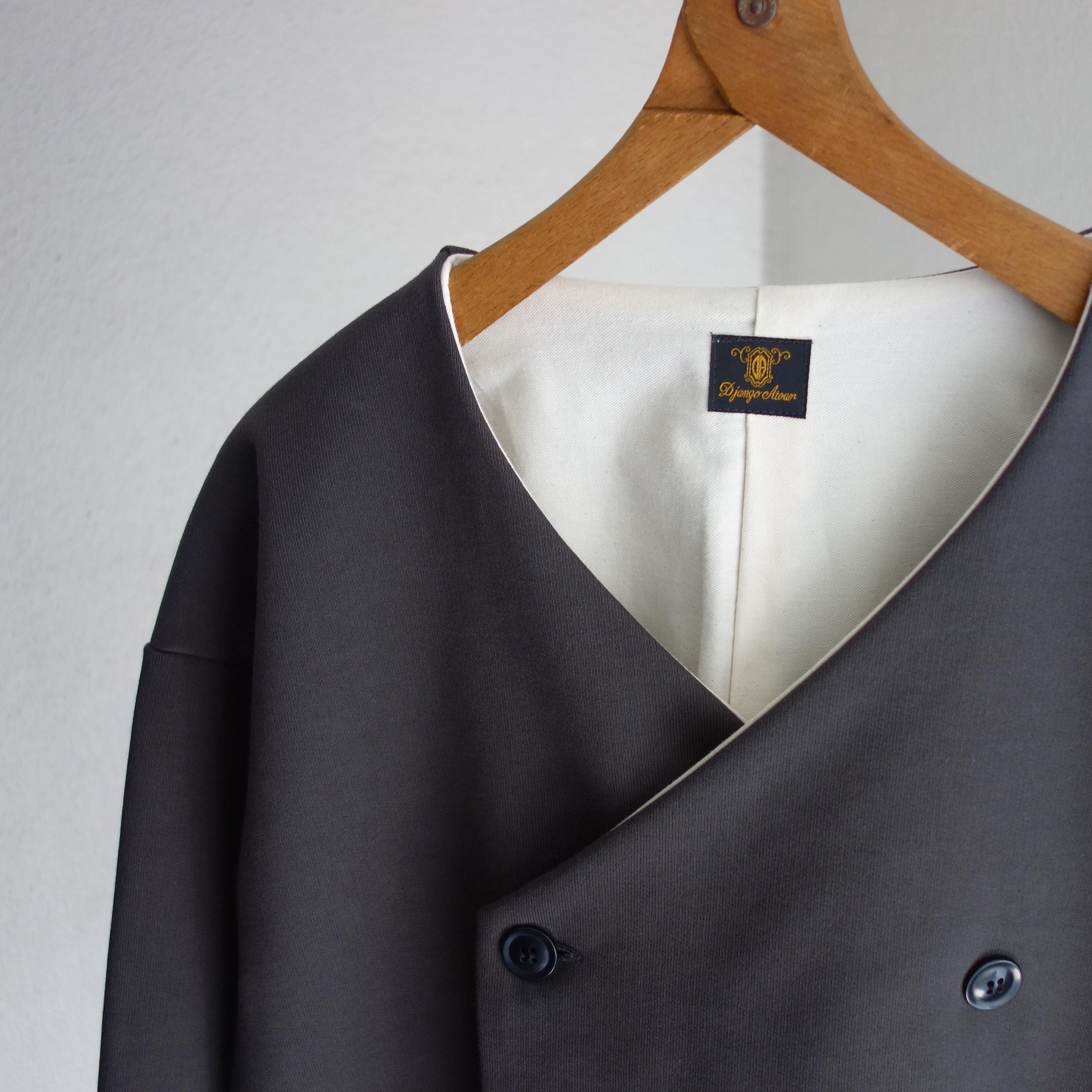 classic volendam no-collar jacket / d.grey