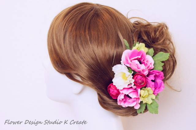 ウェディングに♡ローズピンクのアネモネのヘッドドレス