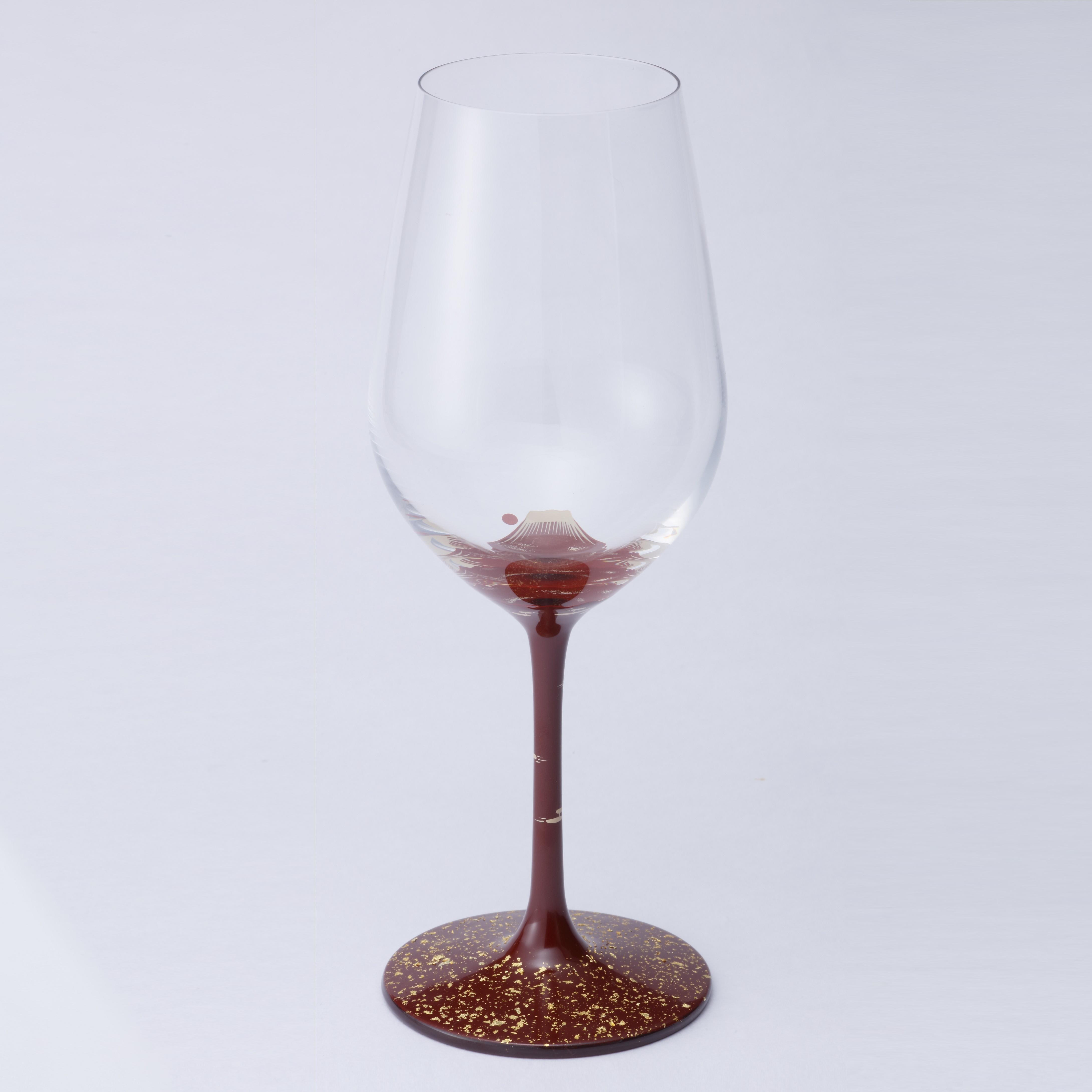 丸三漆器 漆絵ワイングラス 赤富士