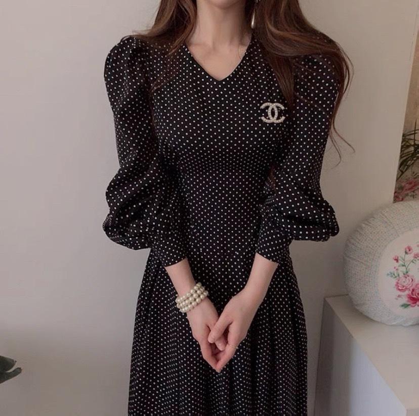 A line dot dress 2color