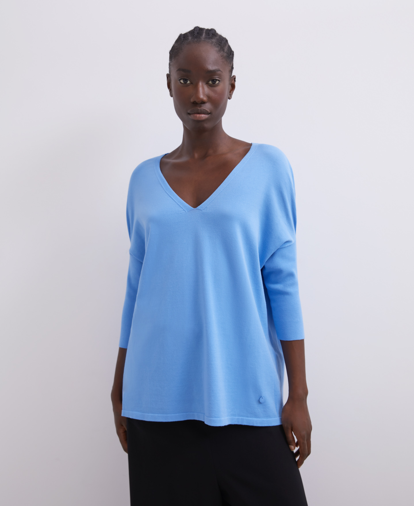 VISCOSE SWEATER WITH V-NECK