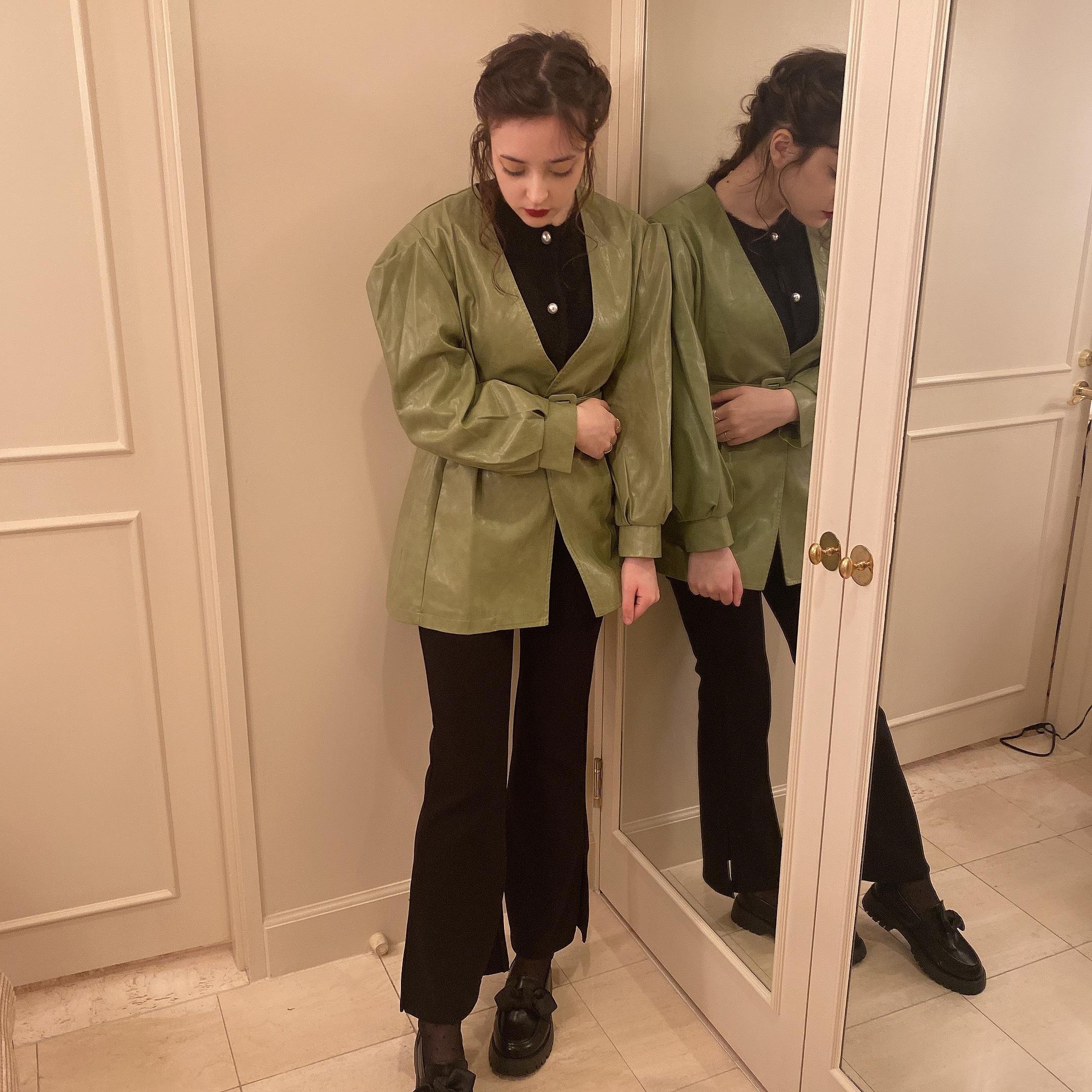 【LAST3】side slit stretch pants