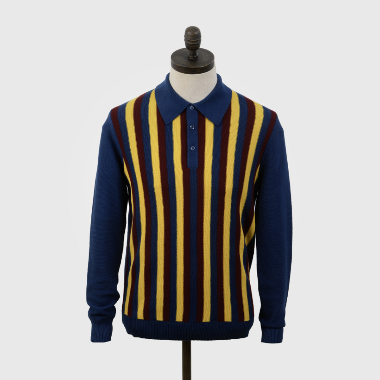 "Art Gallery Clothing | Stripe Knit Polo ""Ruffin"" - Sailor Blue"