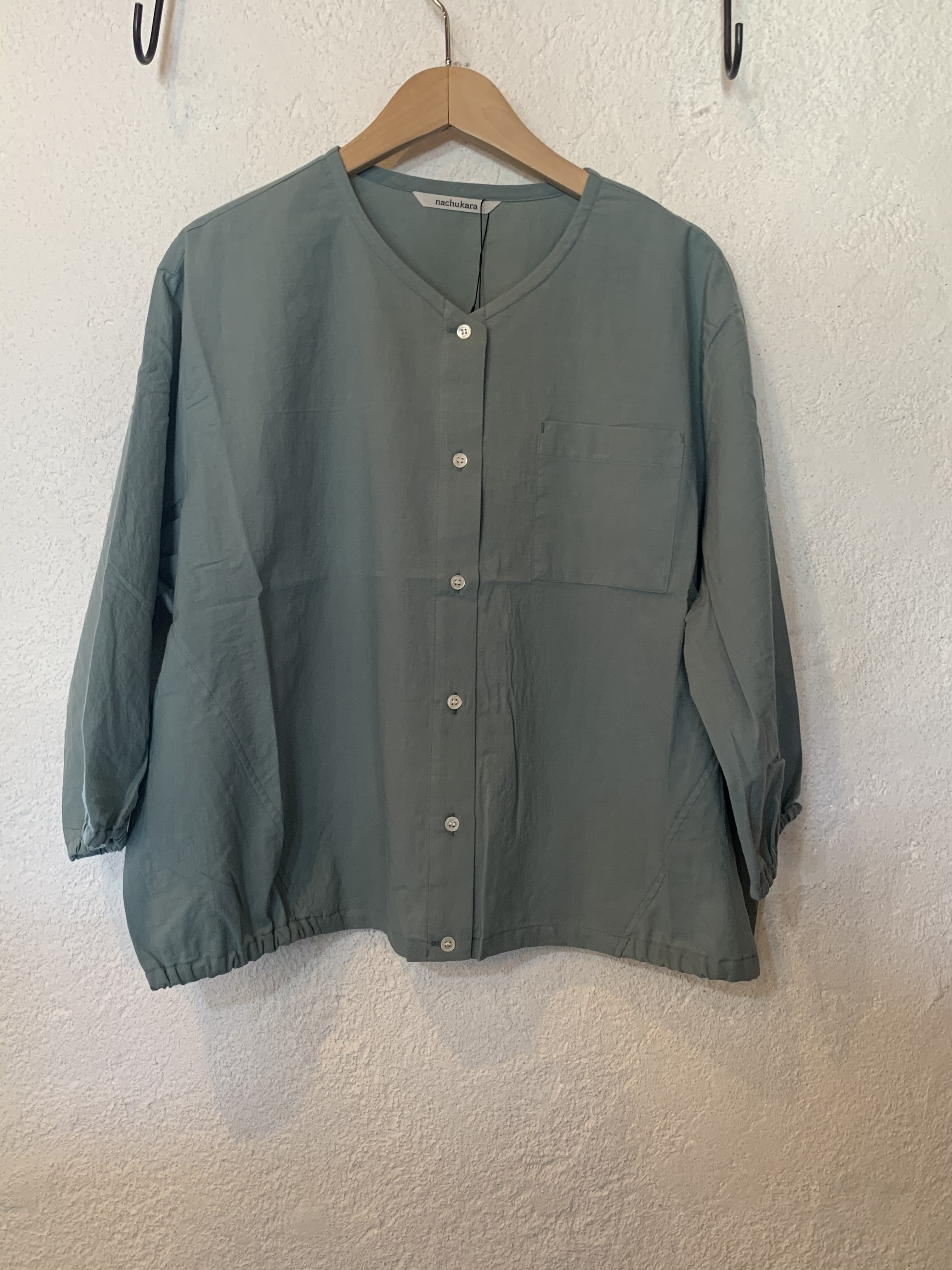 nachukara/裾ゴム7分袖ブラウス ミント