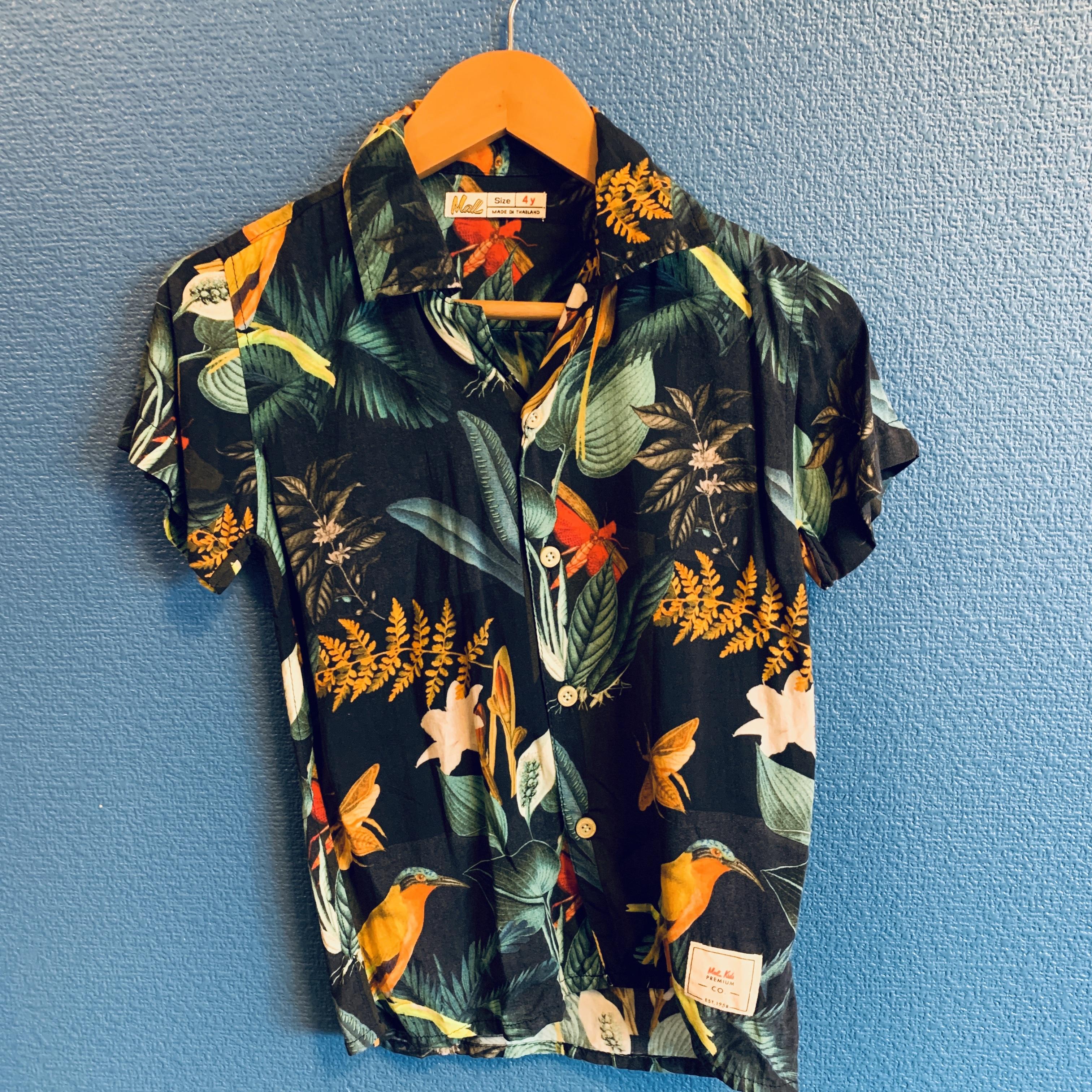 南国ジャングル柄レーヨンキッズアロハシャツ