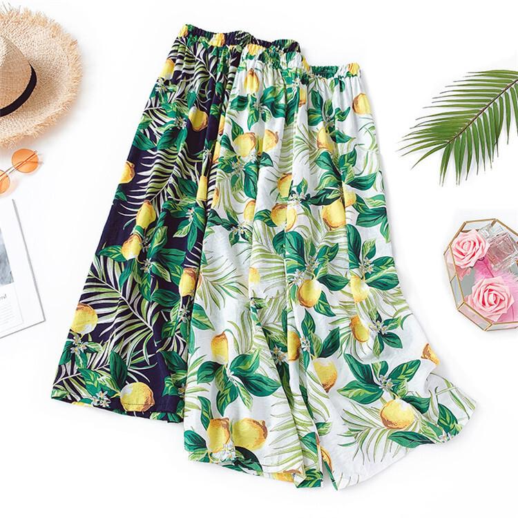 【夏涼感★リゾート感漂うワイドパンツ】大人カジュアル花柄パンツ スカーチョ 2カラー