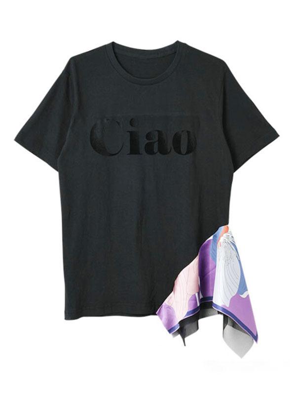 △new color△リメイクCaioロゴTシャツ[Color:ブラックロゴ×パープル]