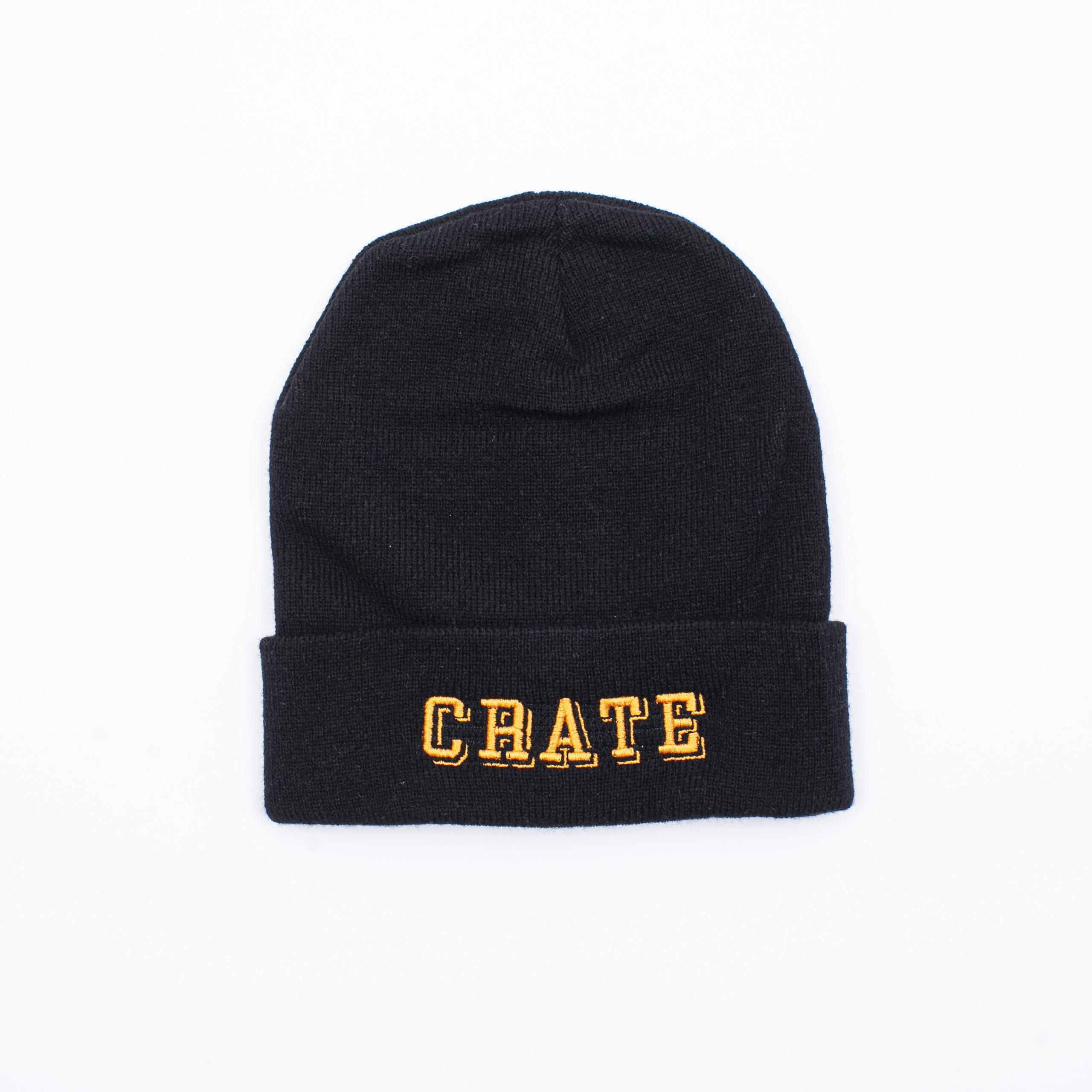 Block Logo Knit Cap Black×Orange