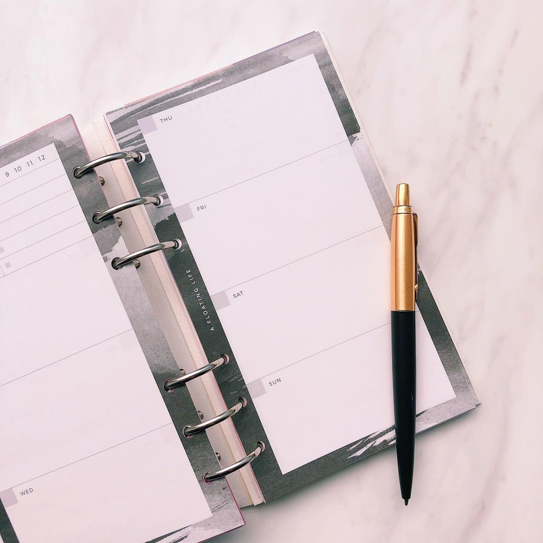 ウィークリー計画 / バイブル / ブラック(システム手帳リフィル)