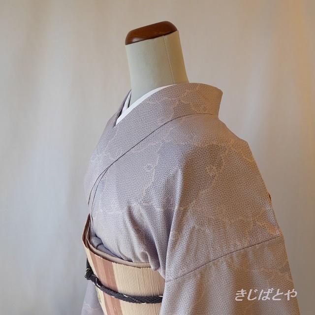 結城紬 暁鼠に雪輪の小紋 単衣