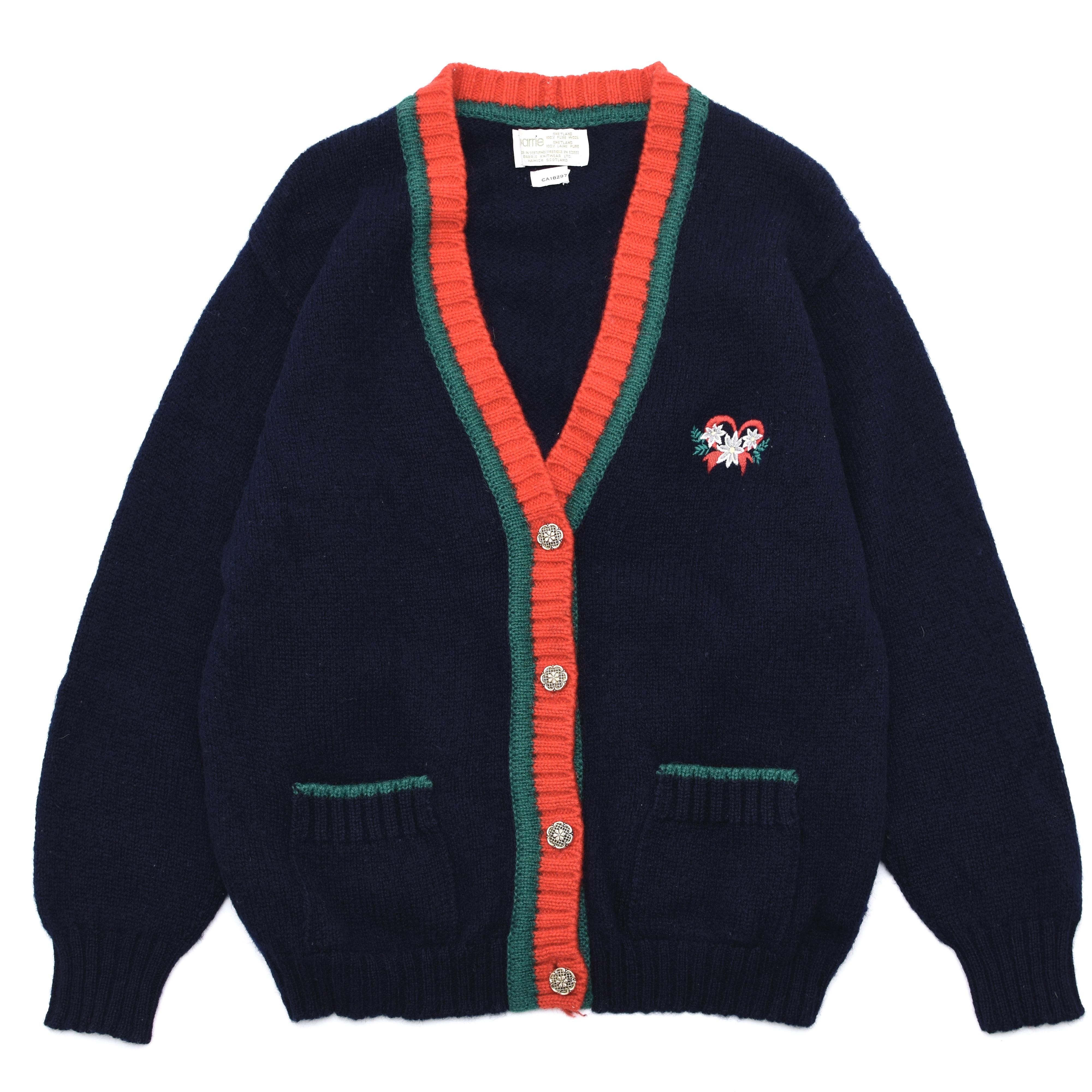 VTG flower embroidery wool knit cardigan