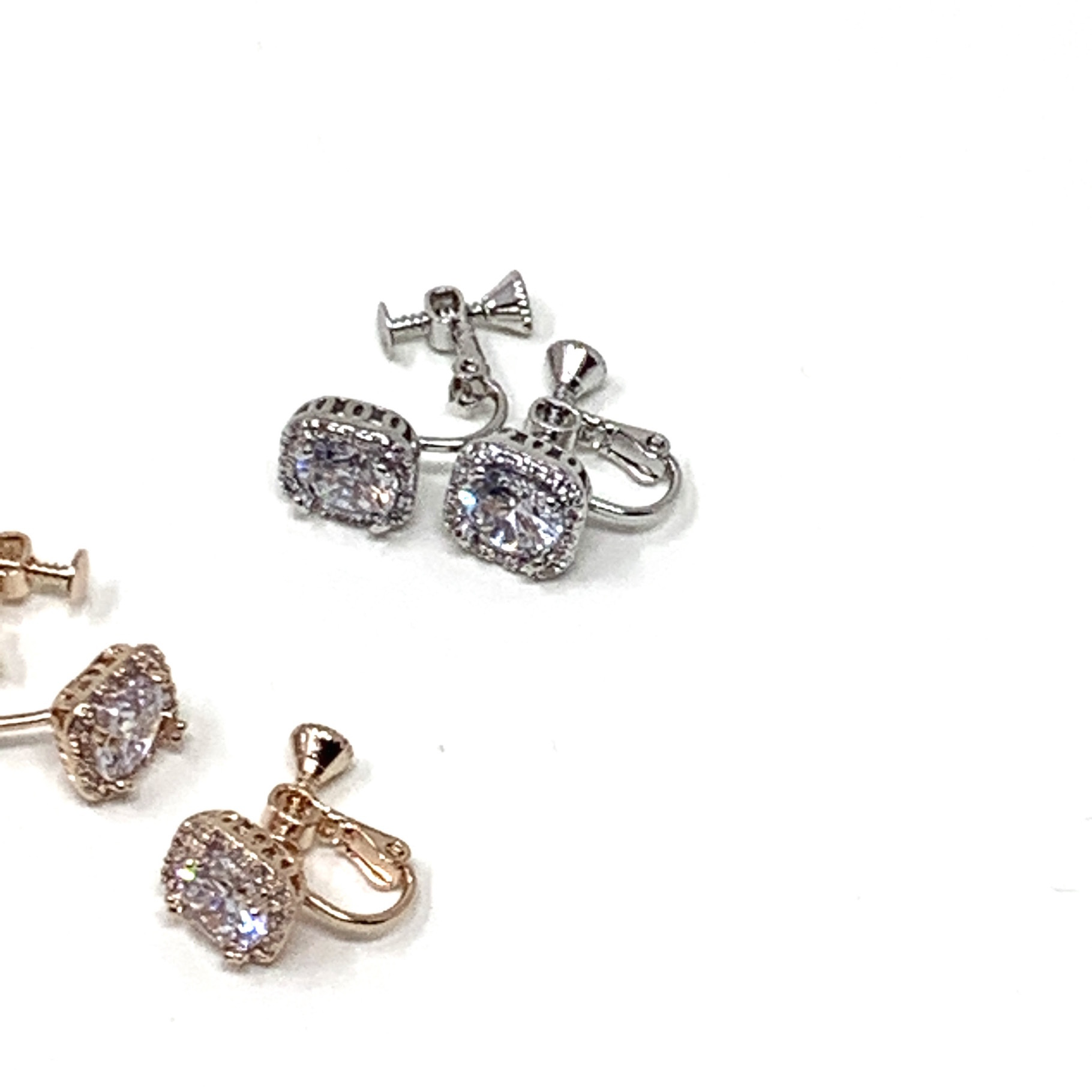 Square drop earrings  |スクエアドロップイヤリング|CZ| #141|【STELLAPARK】