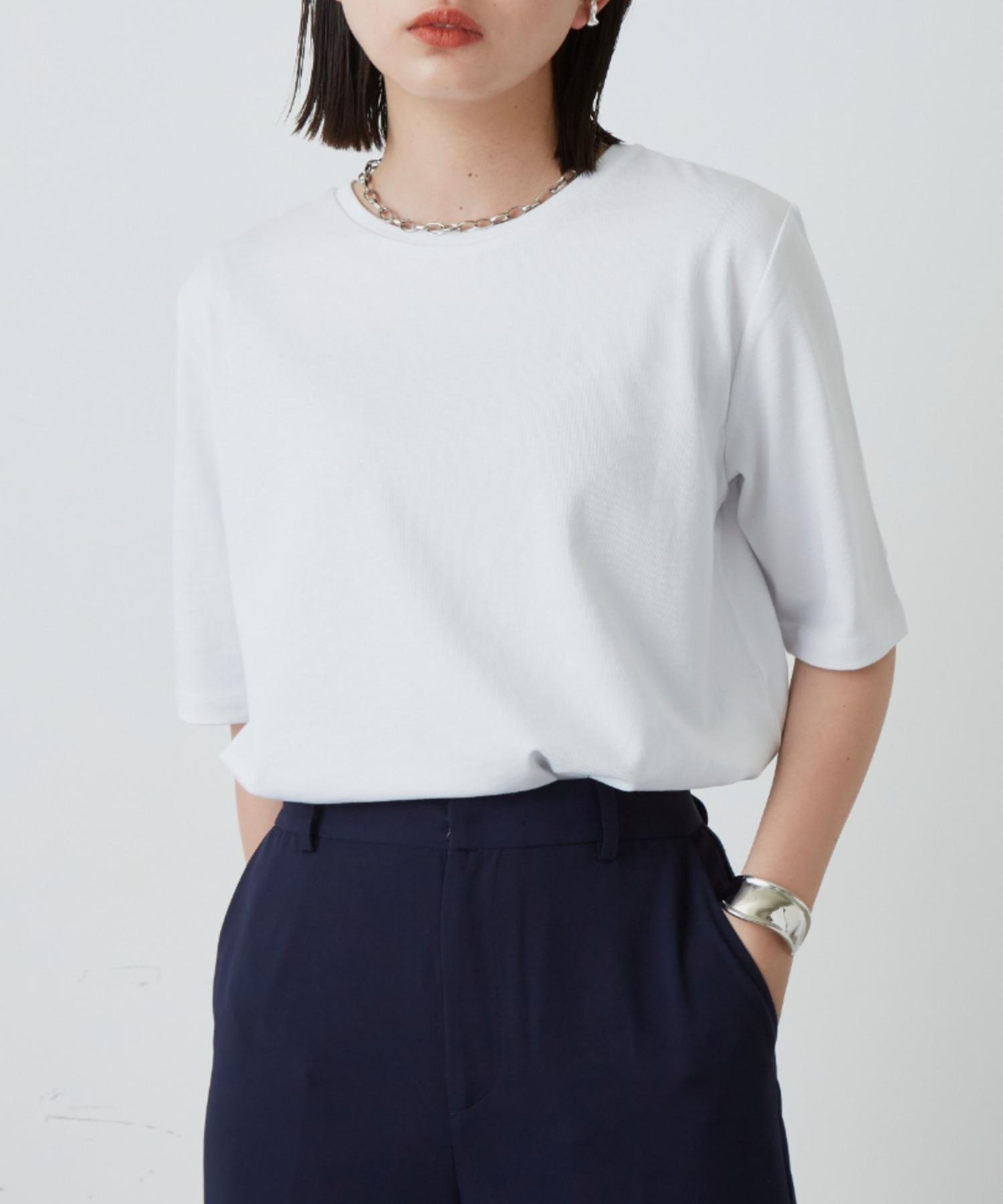 裾ラウンドスリットビッグTシャツ/WHT