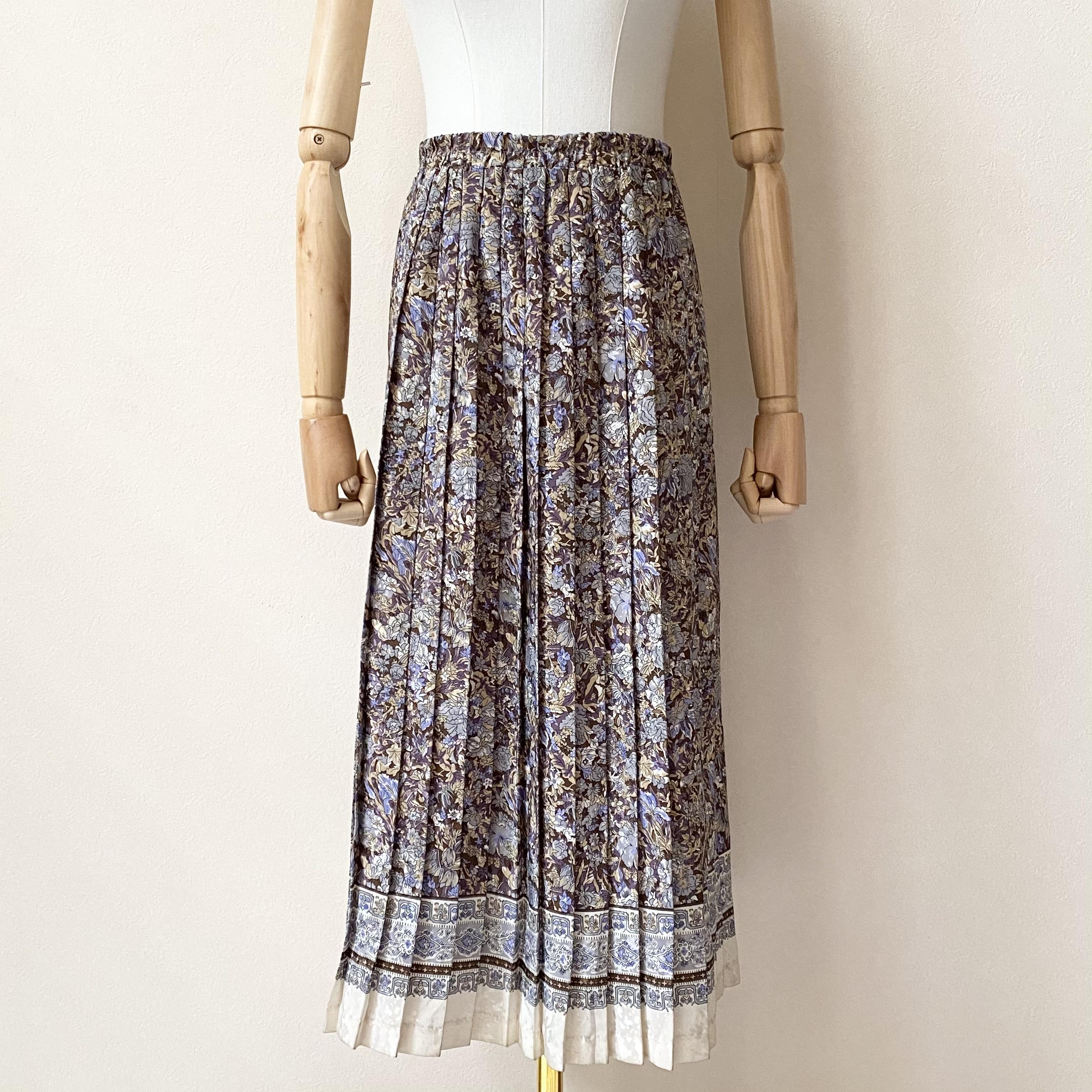 レディース 70年代 花柄 プリーツスカート アメリカ 古着 ポリエステル ブラウン 日本L