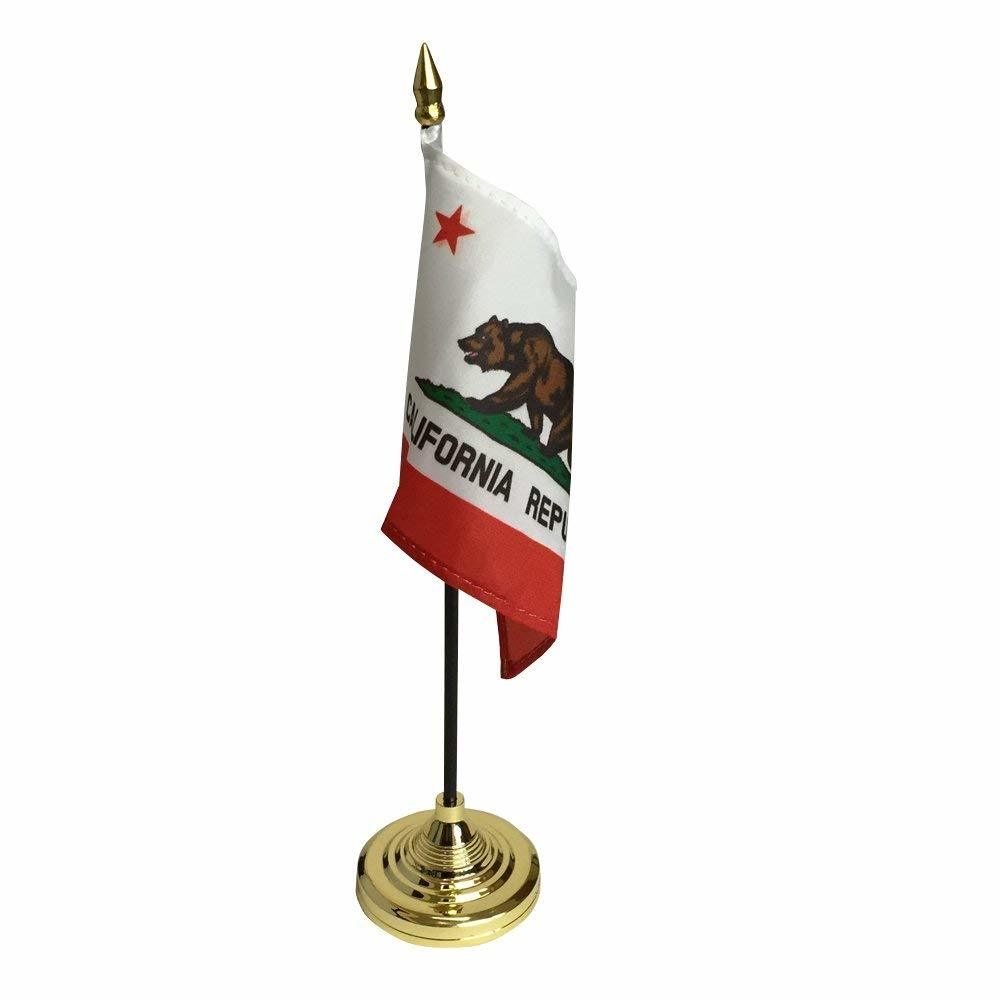 アメリカンフラッグ★スティックカリフォルニア ミニ旗★4x6in (10x15cm)旗棒付き【スタンドセット】