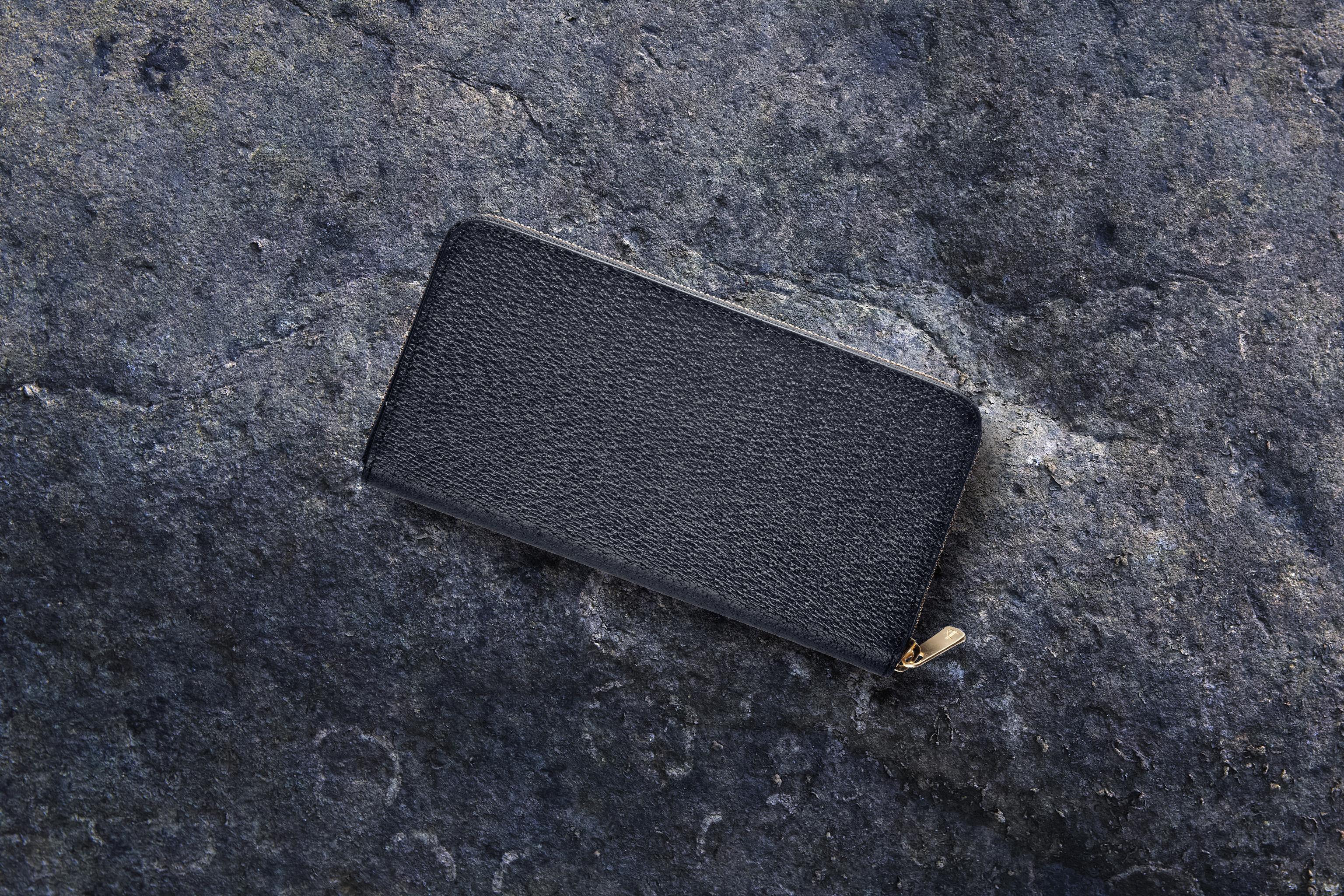 【国産イノシシ革】フルジップロングウォレット Black【STY original model】