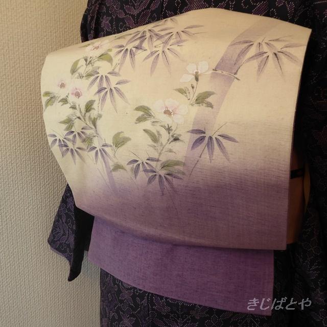 正絹紬 アイボリーと紫の秋明菊のなごや