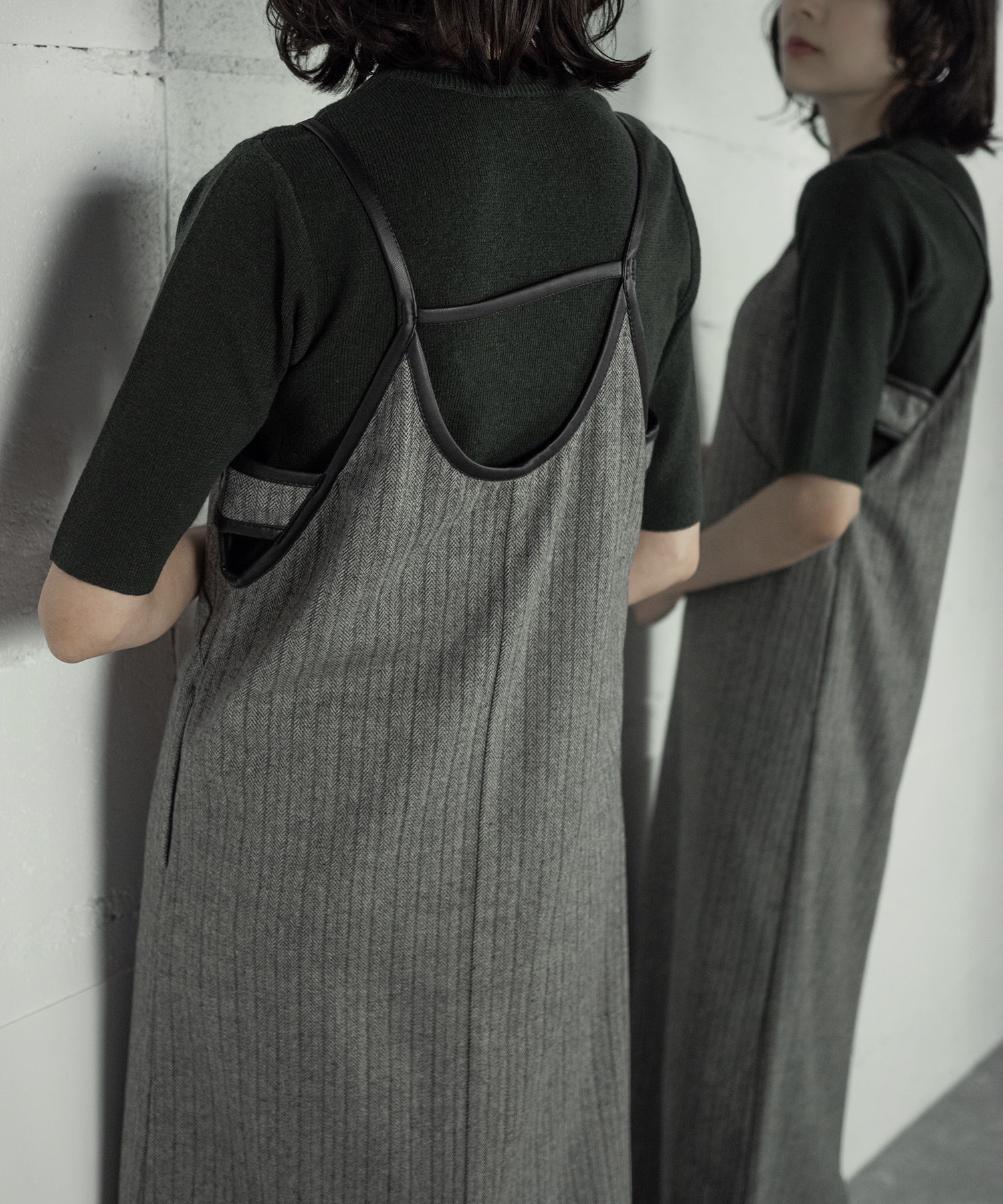 LEATHER PIPING CAMISOLE OP (C.GRAY)