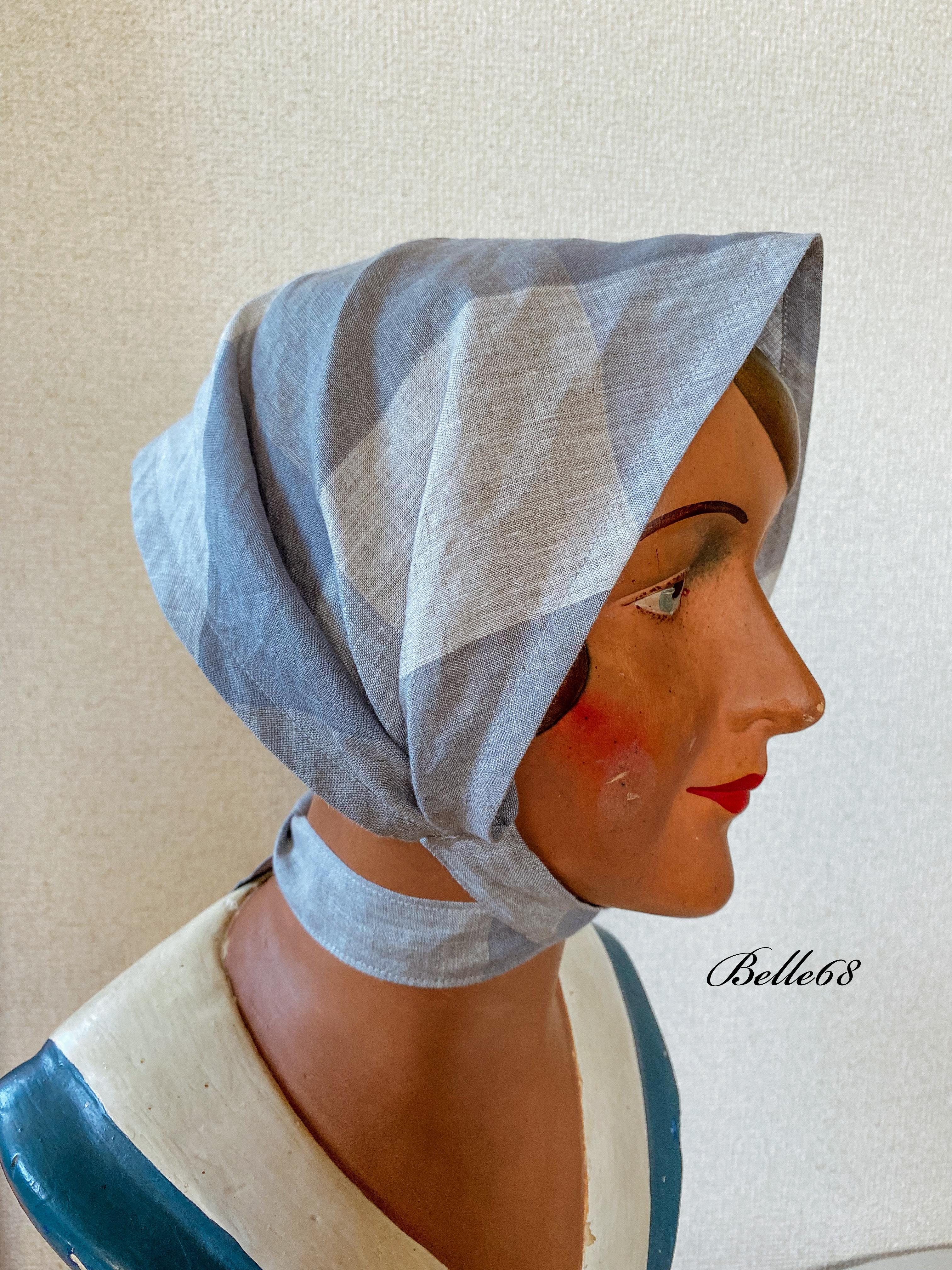 リネン ヘッドスカーフ サックスグレー