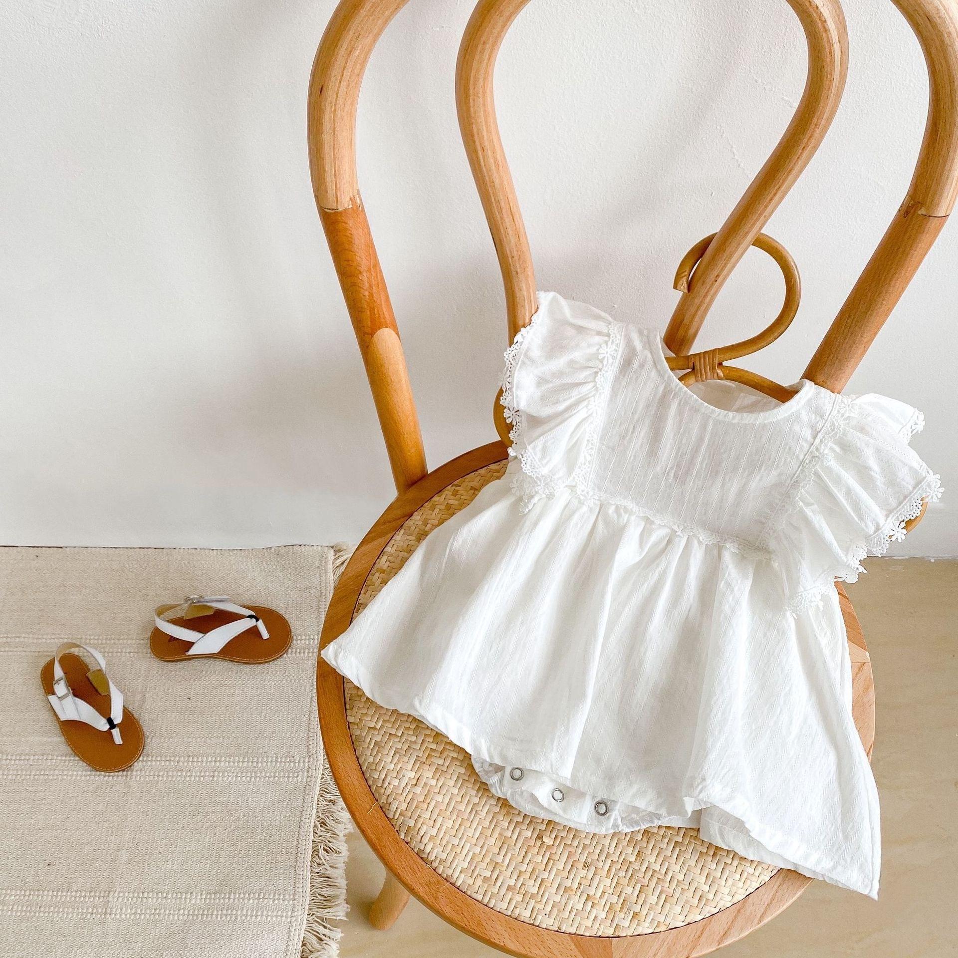 【夏物SALE】20%off【即納】ホワイトレースフリルロンパース ノースリーブ 韓国子供服