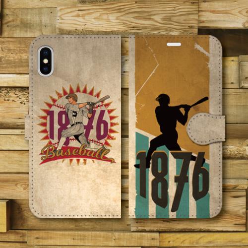 レトロポスター/ベースボール/野球/レトロ調/ビンテージ調/アメリカ/バッター/YELLOW・GREEN/iPhoneスマホケース(手帳型ケース)