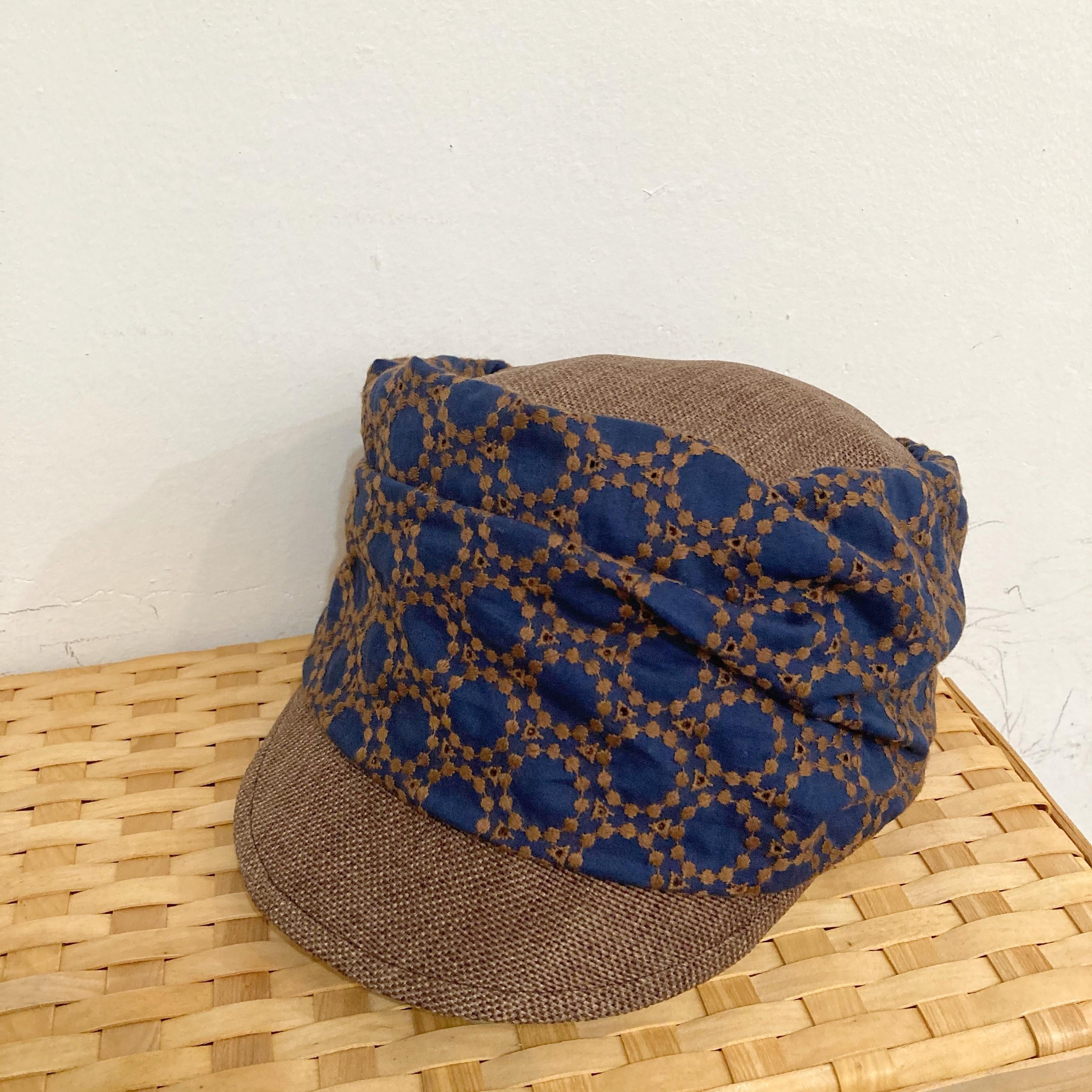 【LuLu de chapeau】キャップ帽(ネイビーブラウン)