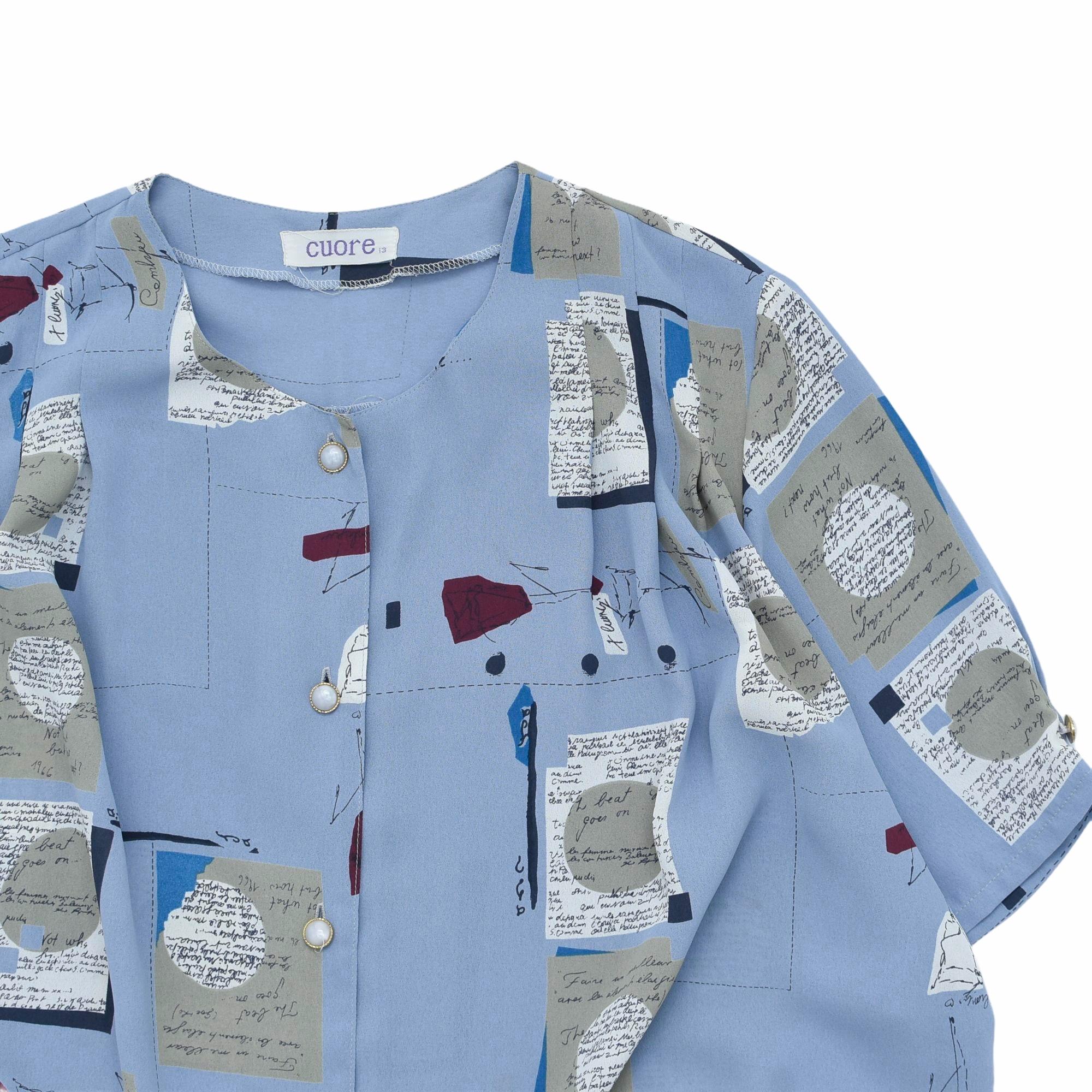Japan vtg retro design nocollar shirt