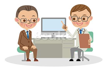 イラスト素材:医者からパソコンで説明を受ける中年のビジネスマン(ベクター・JPG)